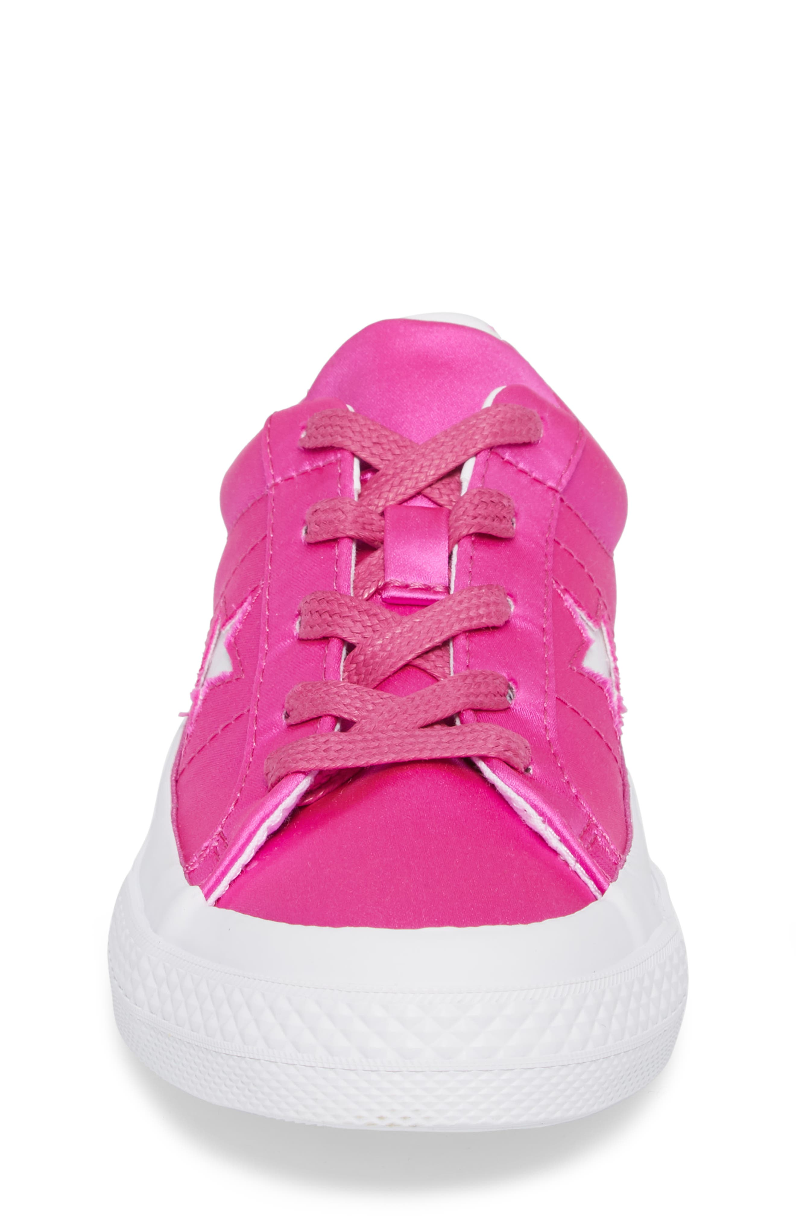 Chuck Taylor<sup>®</sup> All Star<sup>®</sup> One Star Satin Low Top Sneaker,                             Alternate thumbnail 4, color,                             Hyper Magenta
