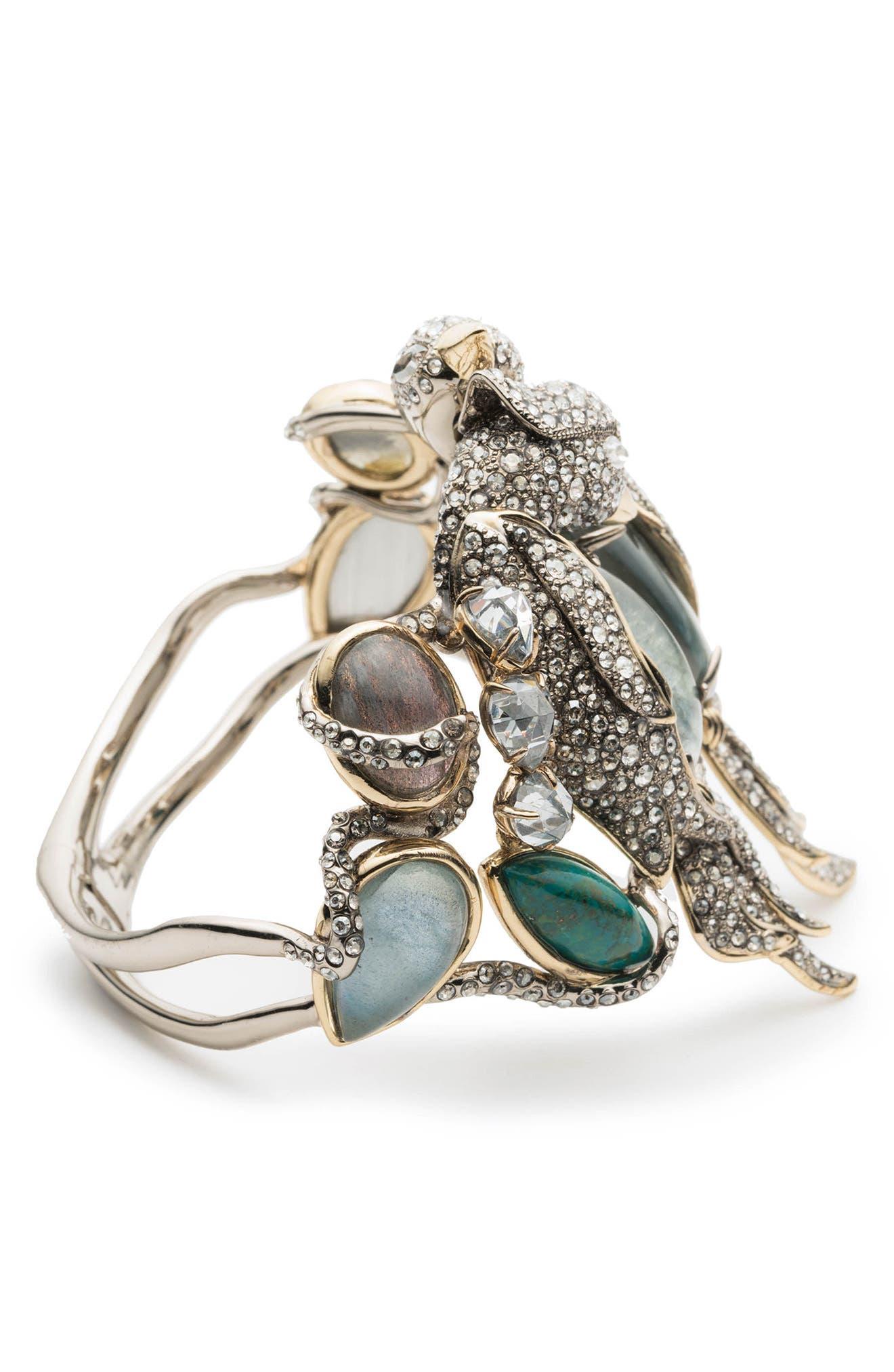 Lovebird Hinge Bracelet,                             Alternate thumbnail 3, color,                             Gold/ Silver