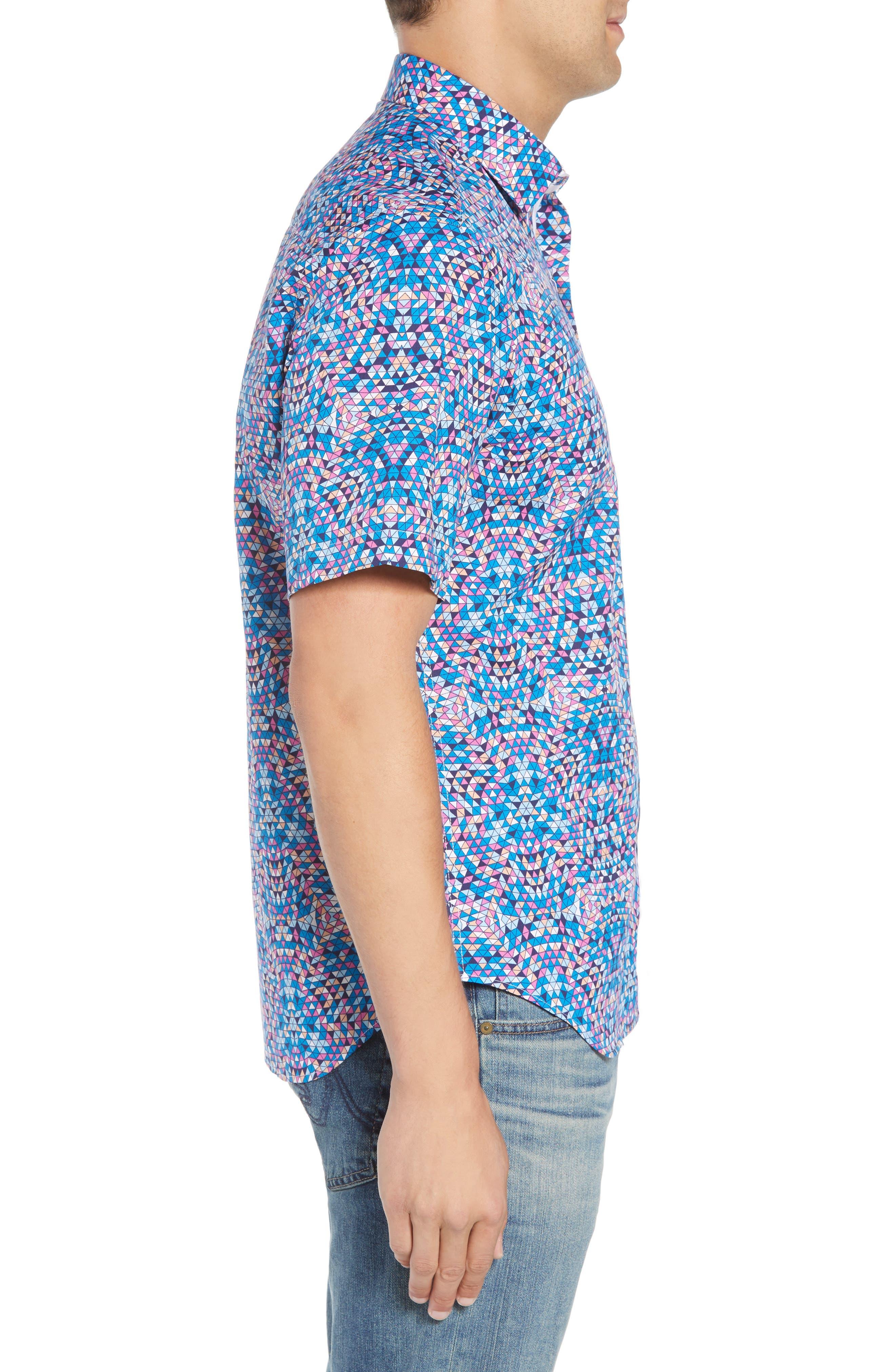 Alvin Regular Fit Print Sport Shirt,                             Alternate thumbnail 4, color,                             Teal