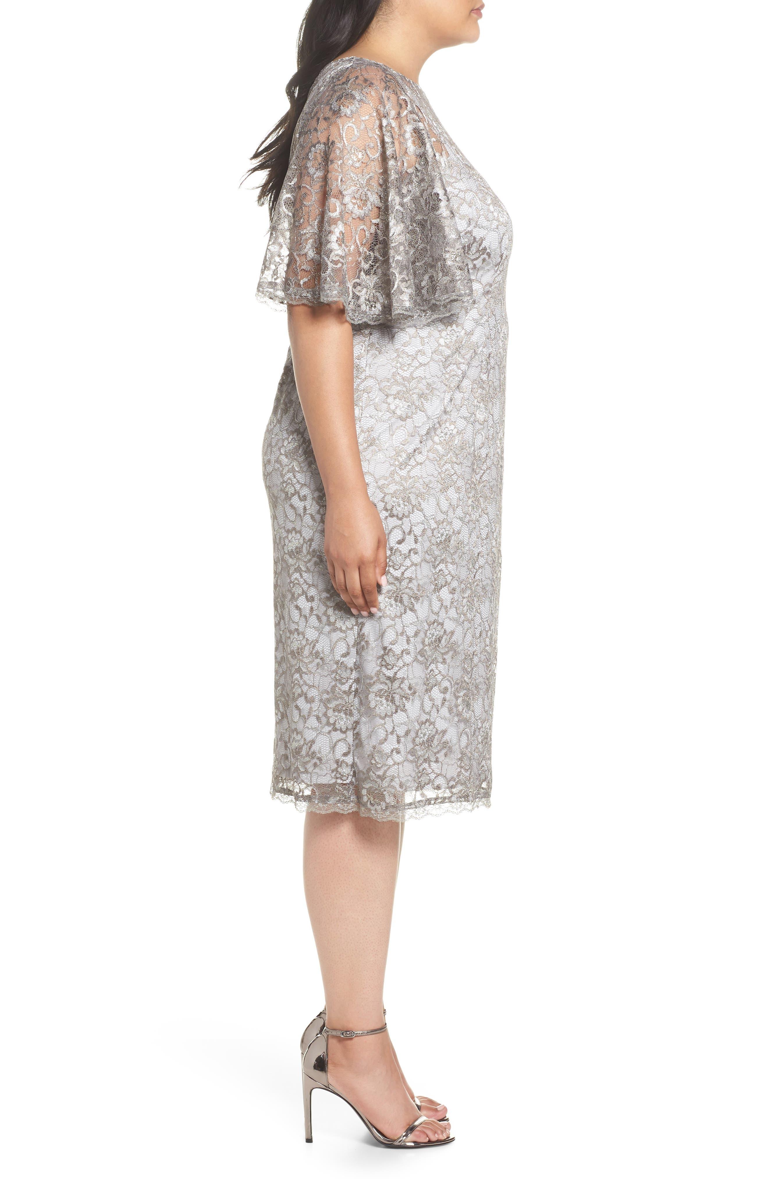 Flutter Sleeve Lace Sheath Dress,                             Alternate thumbnail 3, color,                             Silver