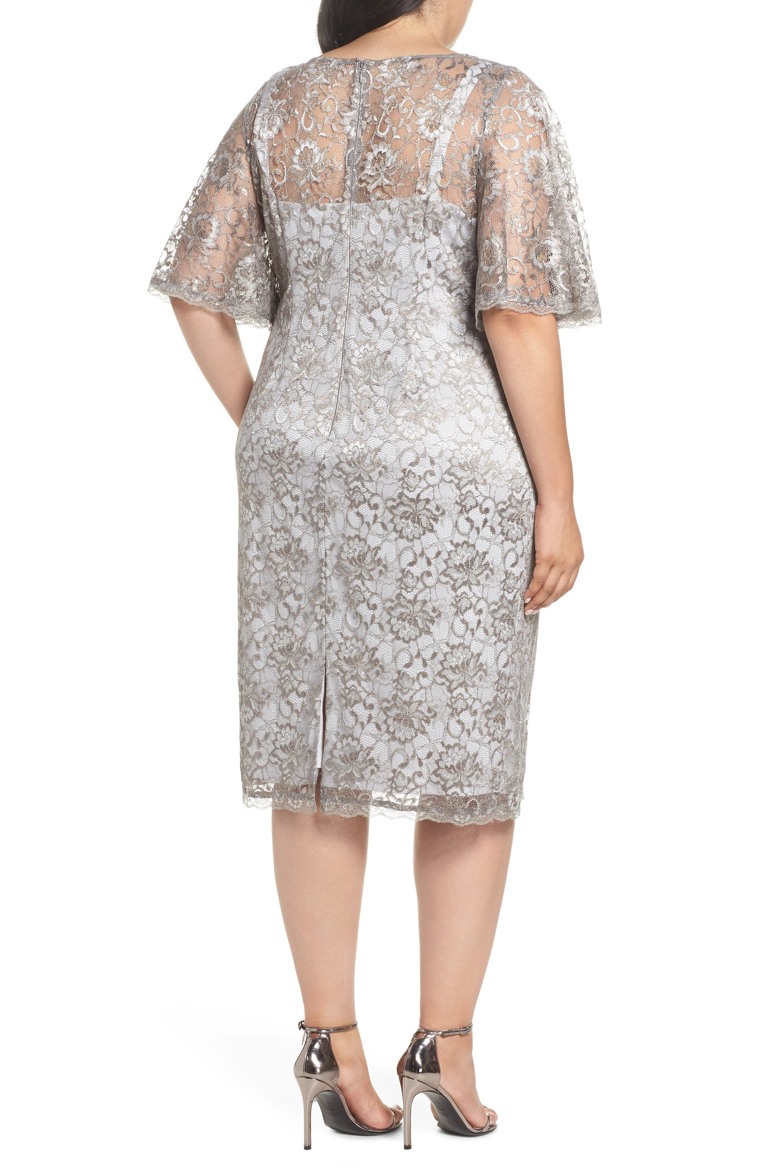 Flutter Sleeve Lace Sheath Dress,                             Alternate thumbnail 2, color,                             Silver