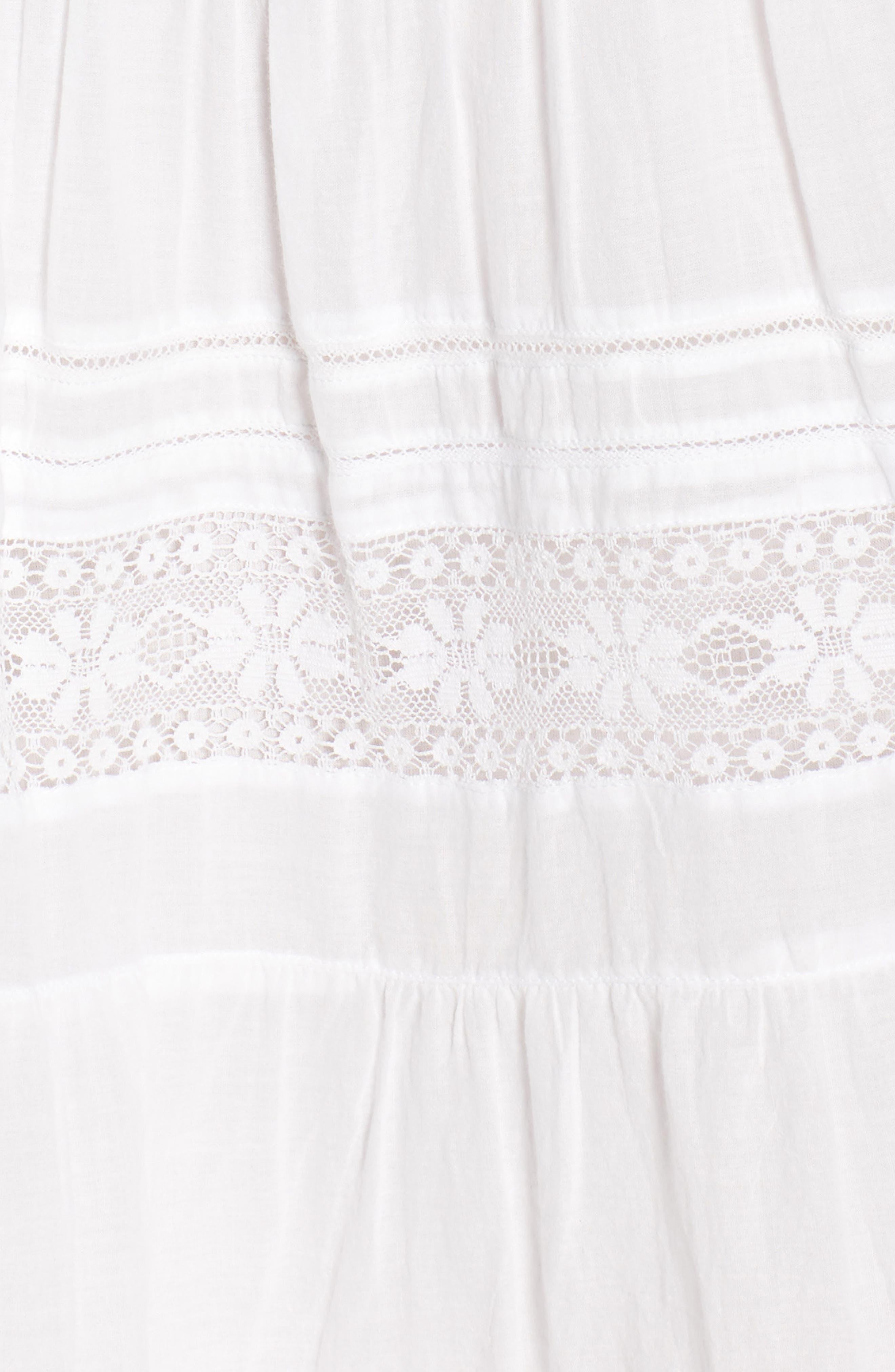 Lace Inset Cotton Gauze Dress,                             Alternate thumbnail 6, color,                             White