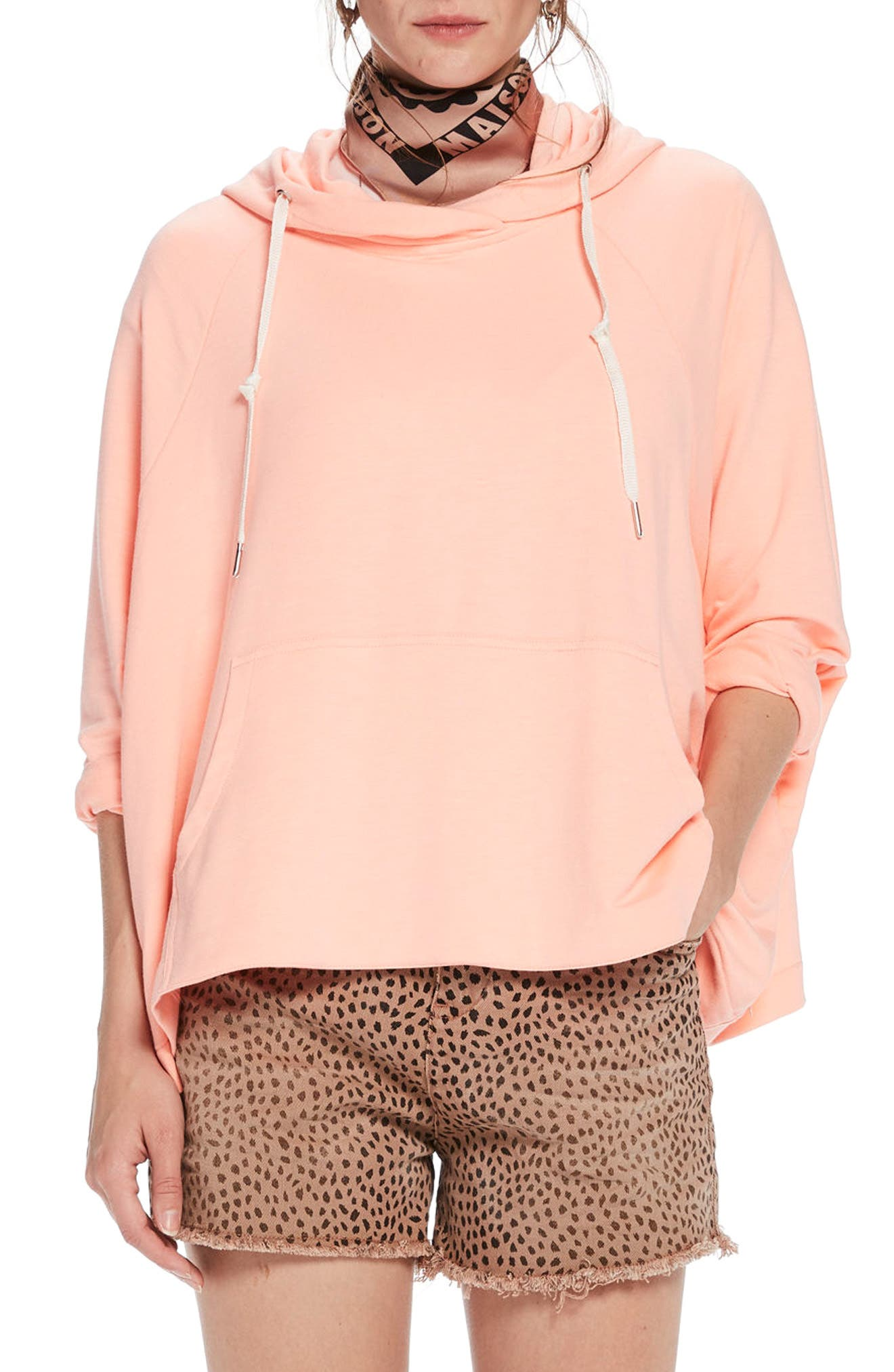Boxy Fit Hoodie,                         Main,                         color, Color 2015 Coral