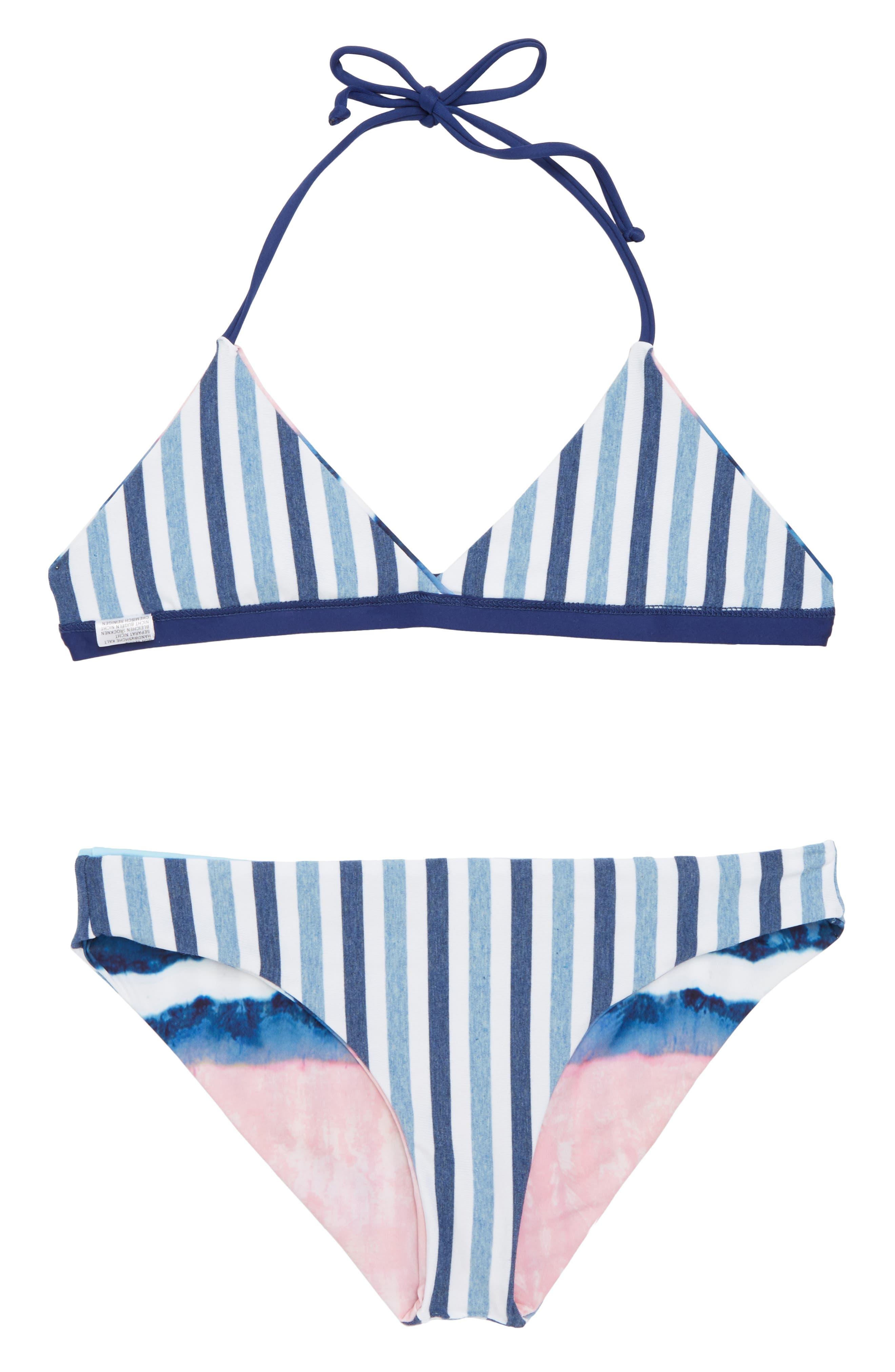Reversible Tie Dye & Stripe Two-Piece Swimsuit,                             Alternate thumbnail 2, color,                             Blue
