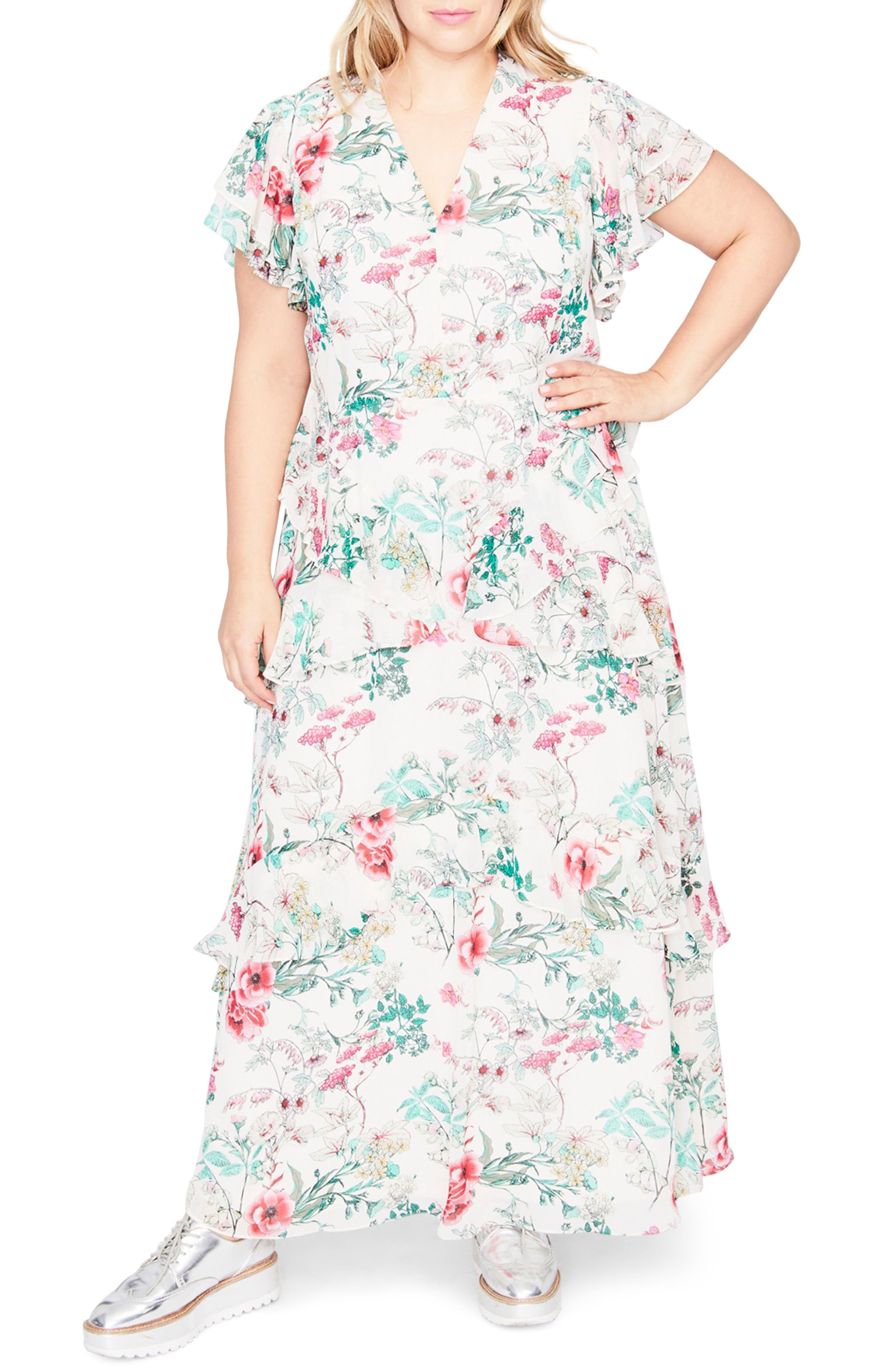 Ruffle Floral Maxi Dress,                         Main,                         color, Almond Milk Combo