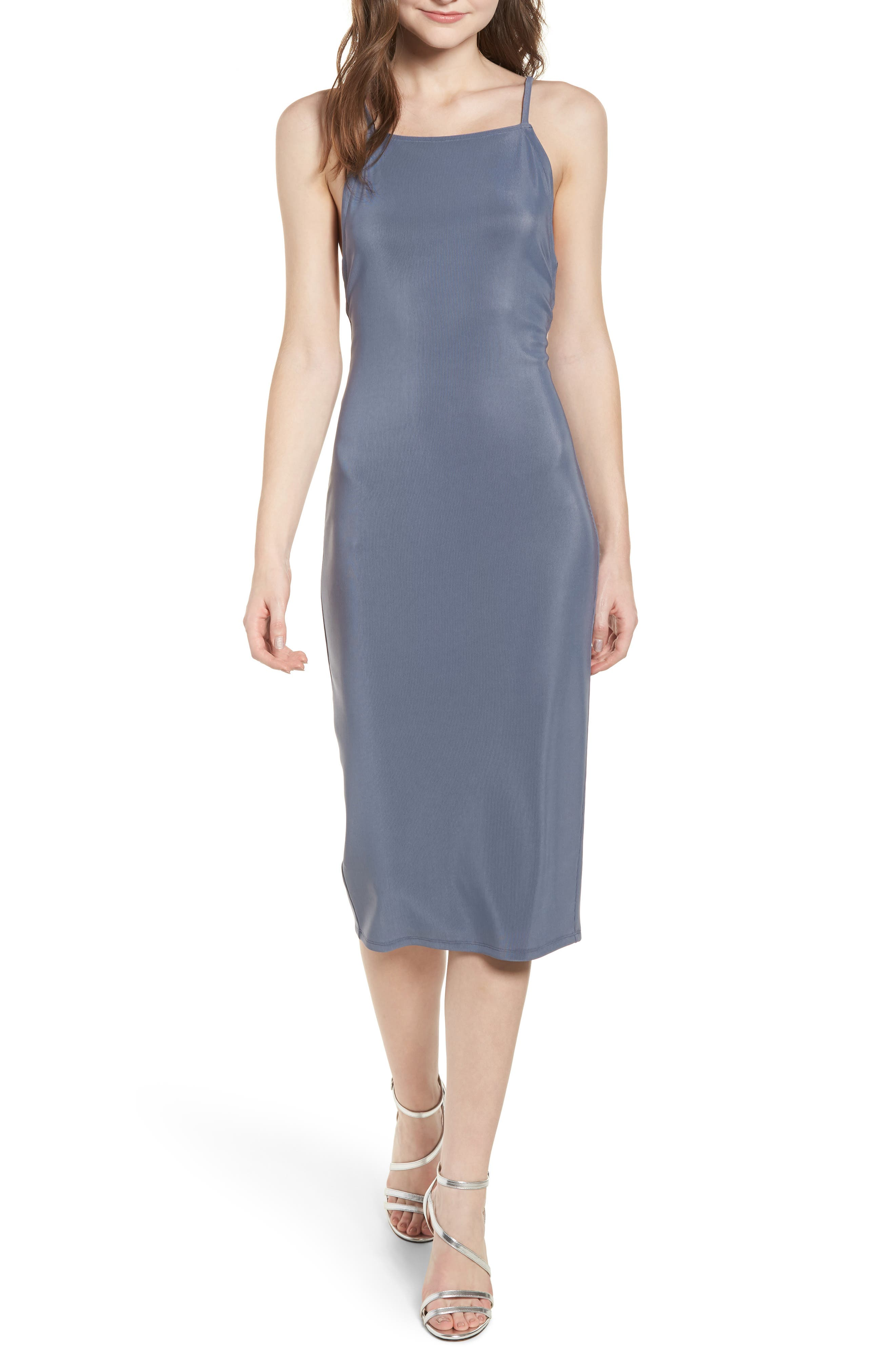 Strappy Bodycon Dress,                             Main thumbnail 1, color,                             Grey Grisaille