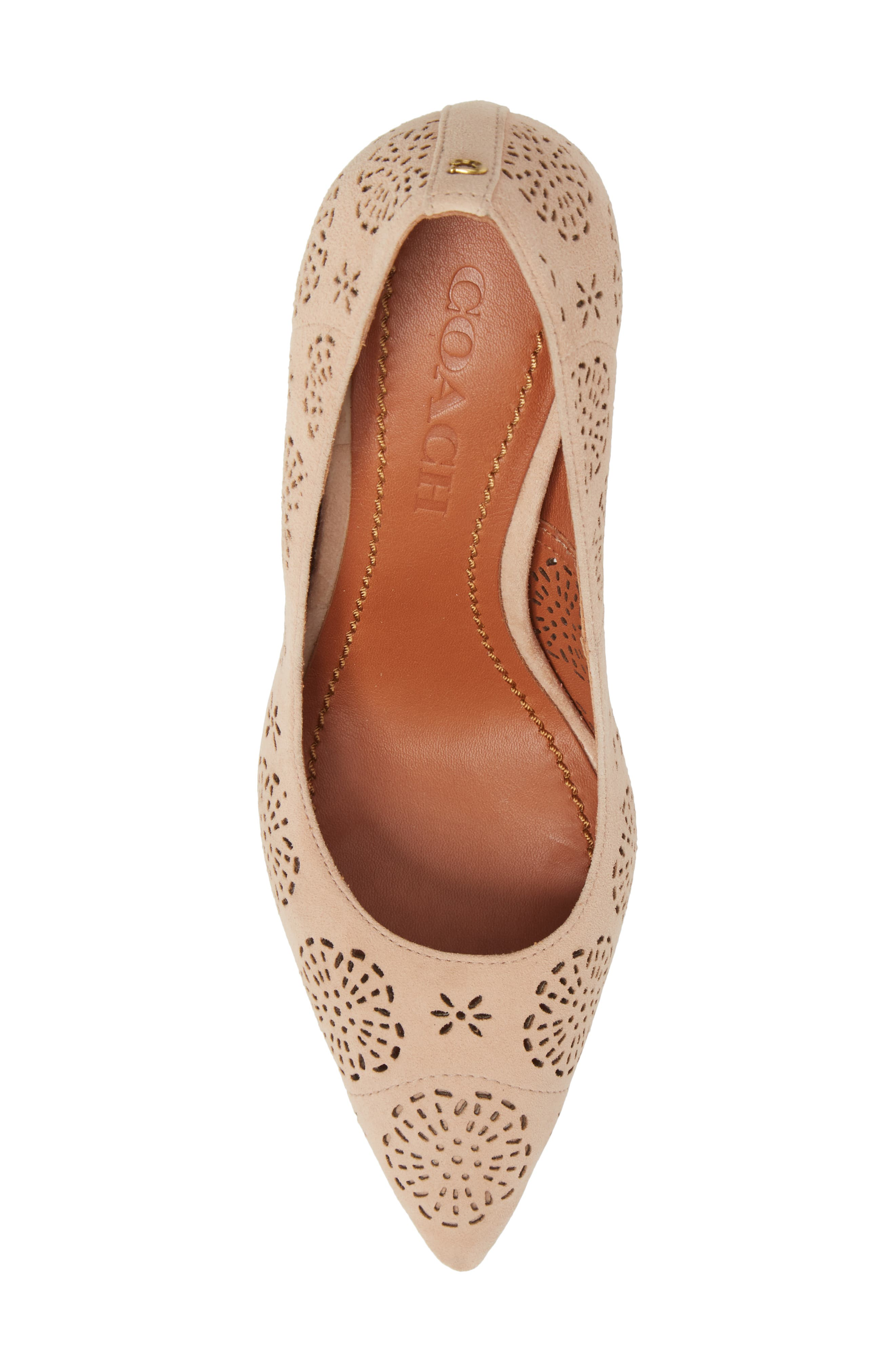 Waverly Tea Rose Perforated Pump,                             Alternate thumbnail 5, color,                             Beachwood Leather