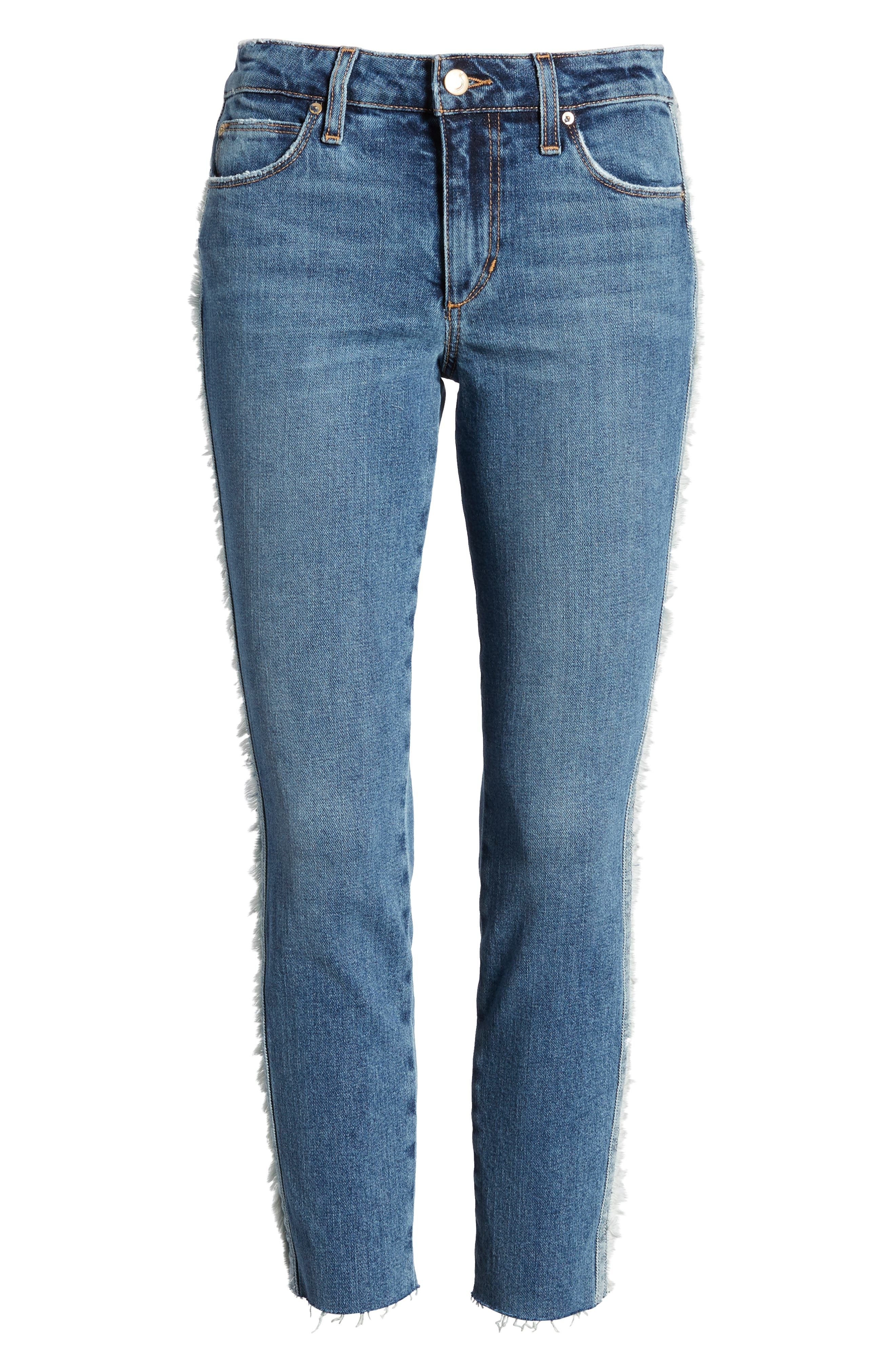 Icon Side Stripe Crop Skinny Jeans,                             Alternate thumbnail 7, color,                             Madera