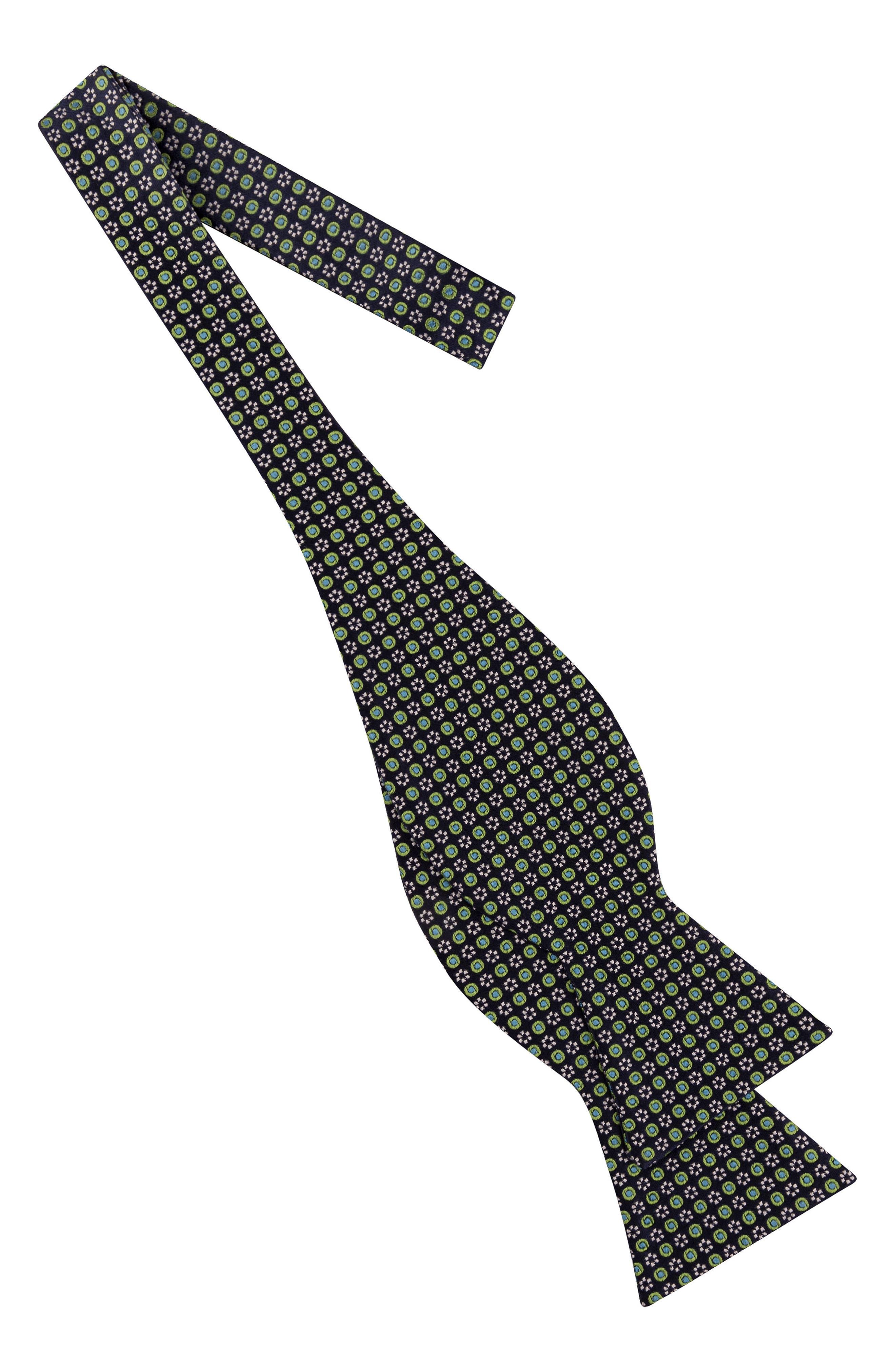 Grid Silk Bow Tie,                             Alternate thumbnail 2, color,                             Navy