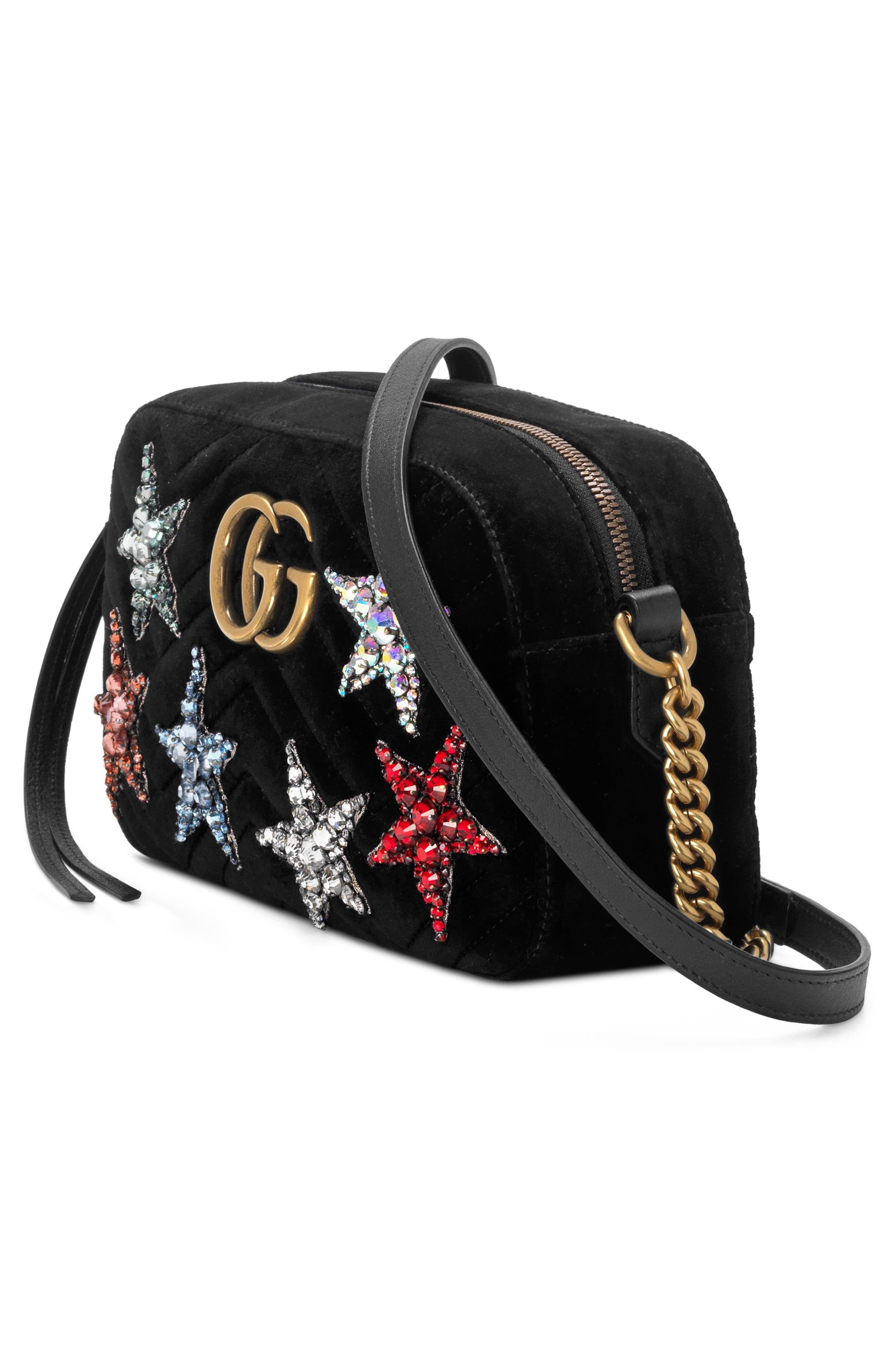 Small GG Marmont 2.0 Crystal Stars Velvet Shoulder Bag,                             Alternate thumbnail 4, color,                             Nero/ Nero Multi