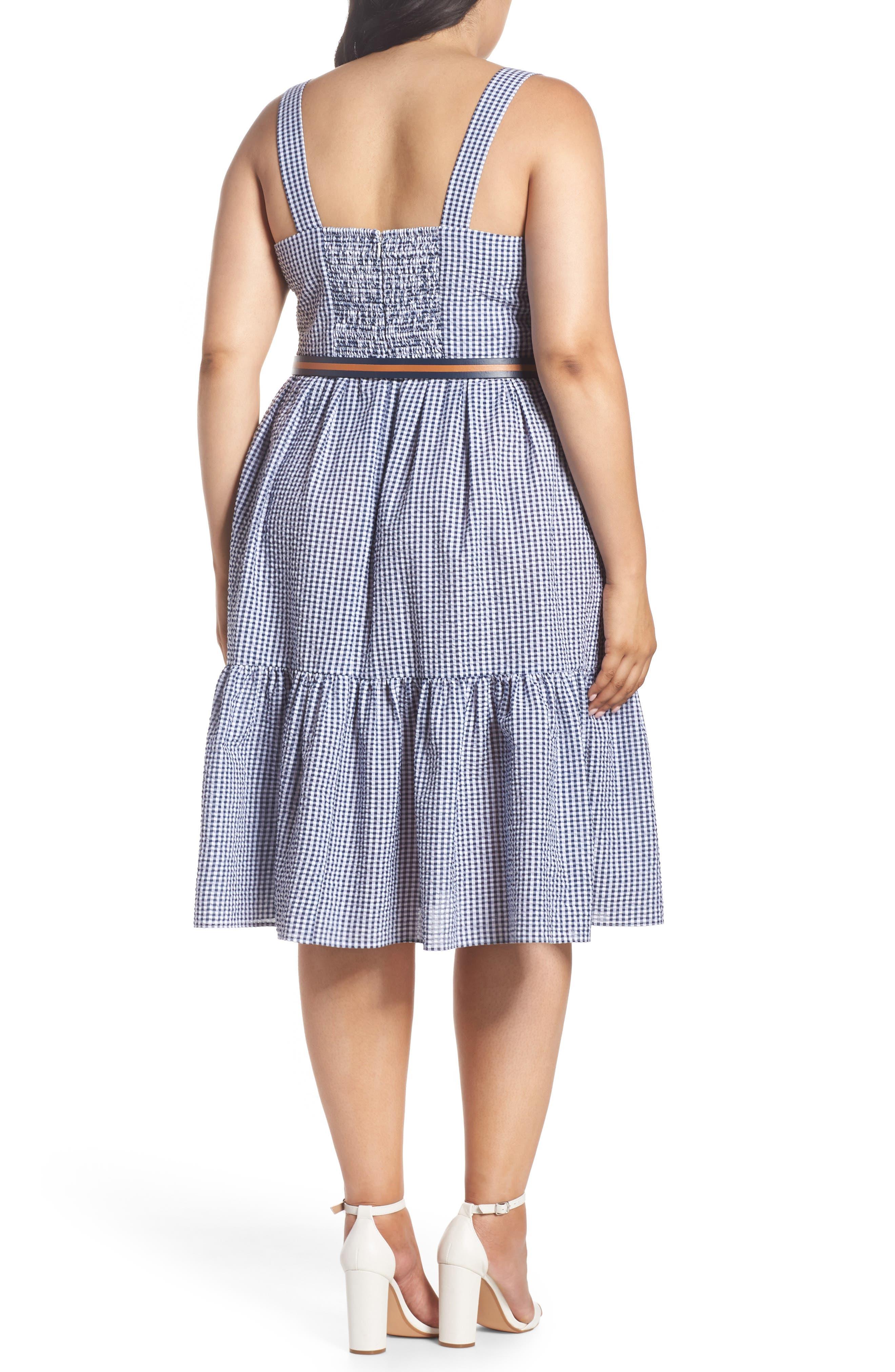 Belted Gingham Seersucker Fit & Flare Dress,                             Alternate thumbnail 2, color,                             Navy/ Ivory
