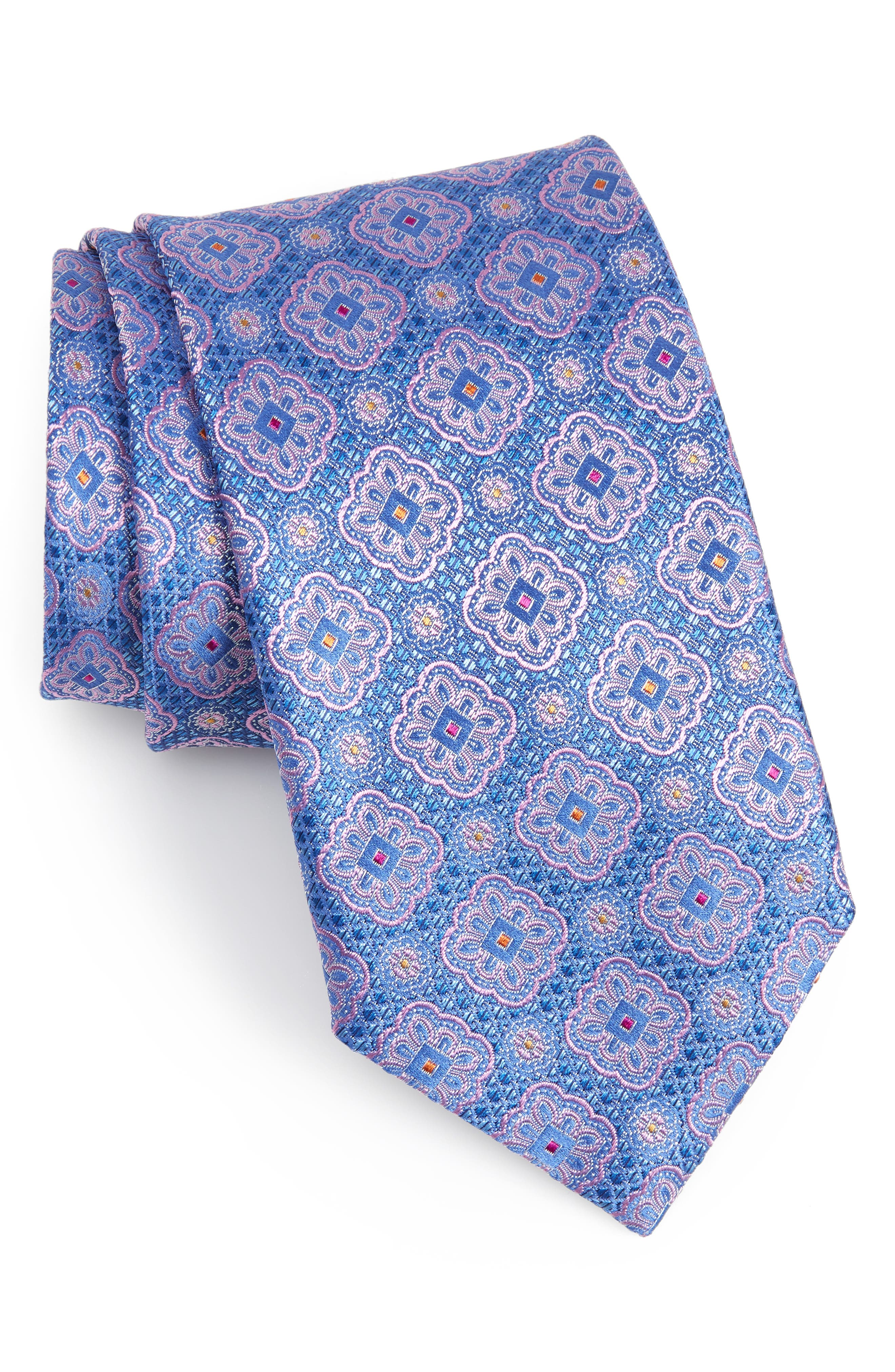 Medallion Silk Tie,                             Main thumbnail 1, color,                             Bright Blue