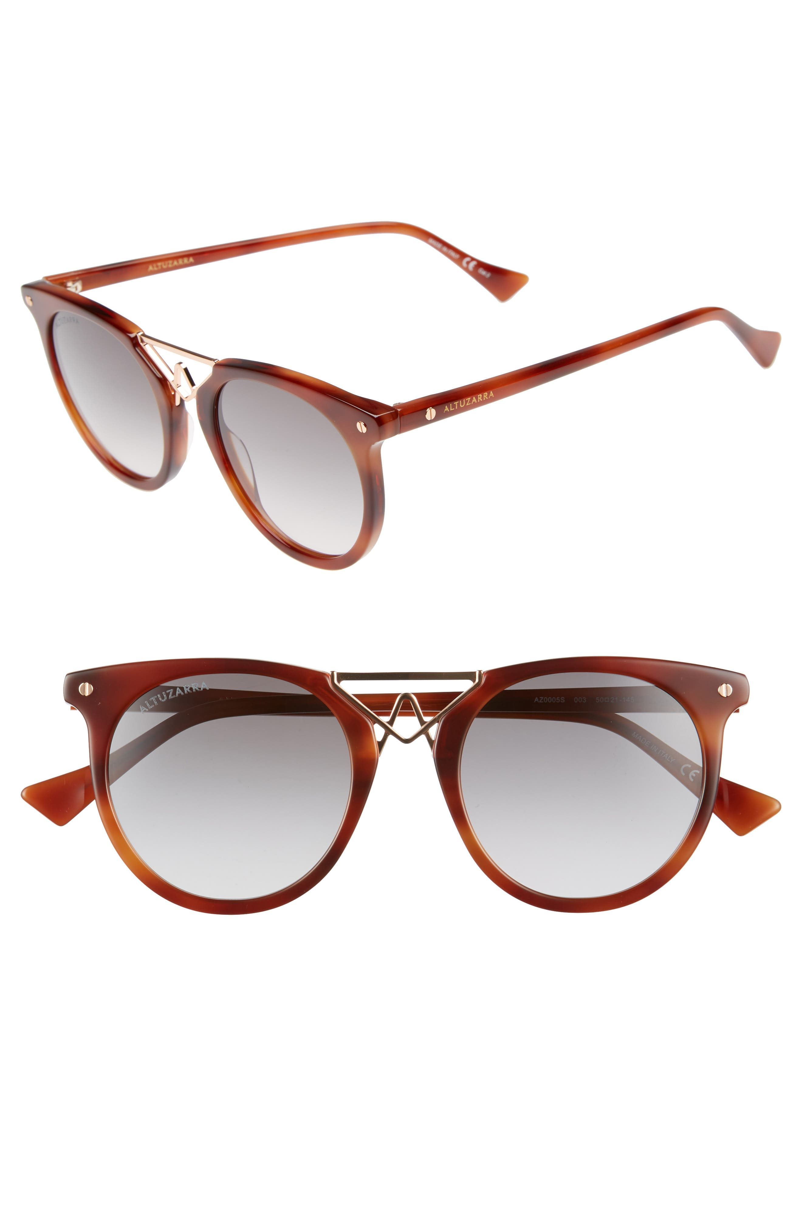 50mm Round Sunglasses,                         Main,                         color, Havana/ Rose Gold