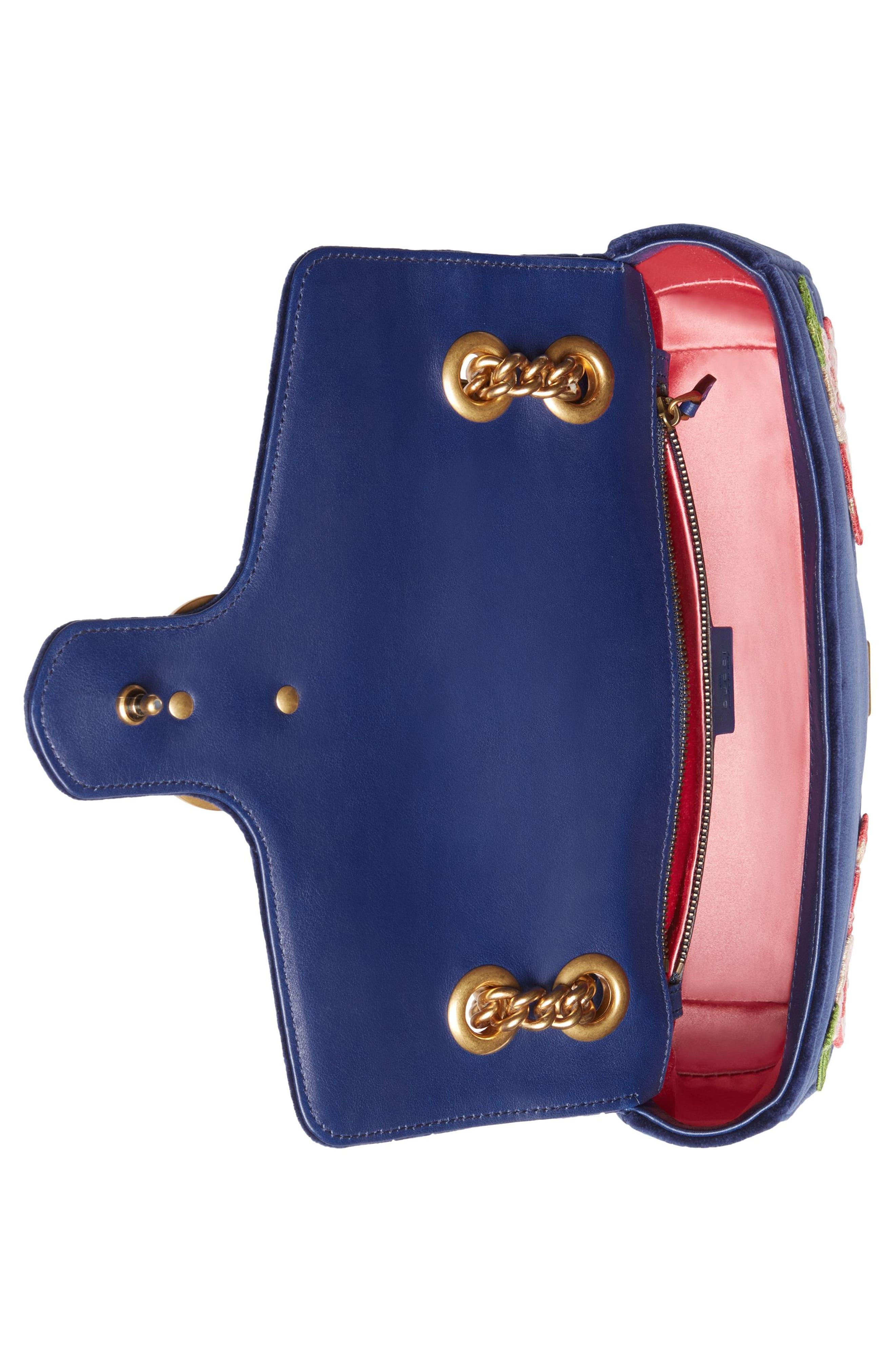 Small GG Marmont 2.0 Matelassé Velvet Shoulder Bag,                             Alternate thumbnail 3, color,                             Cobalt/ Cobalt Multicolor