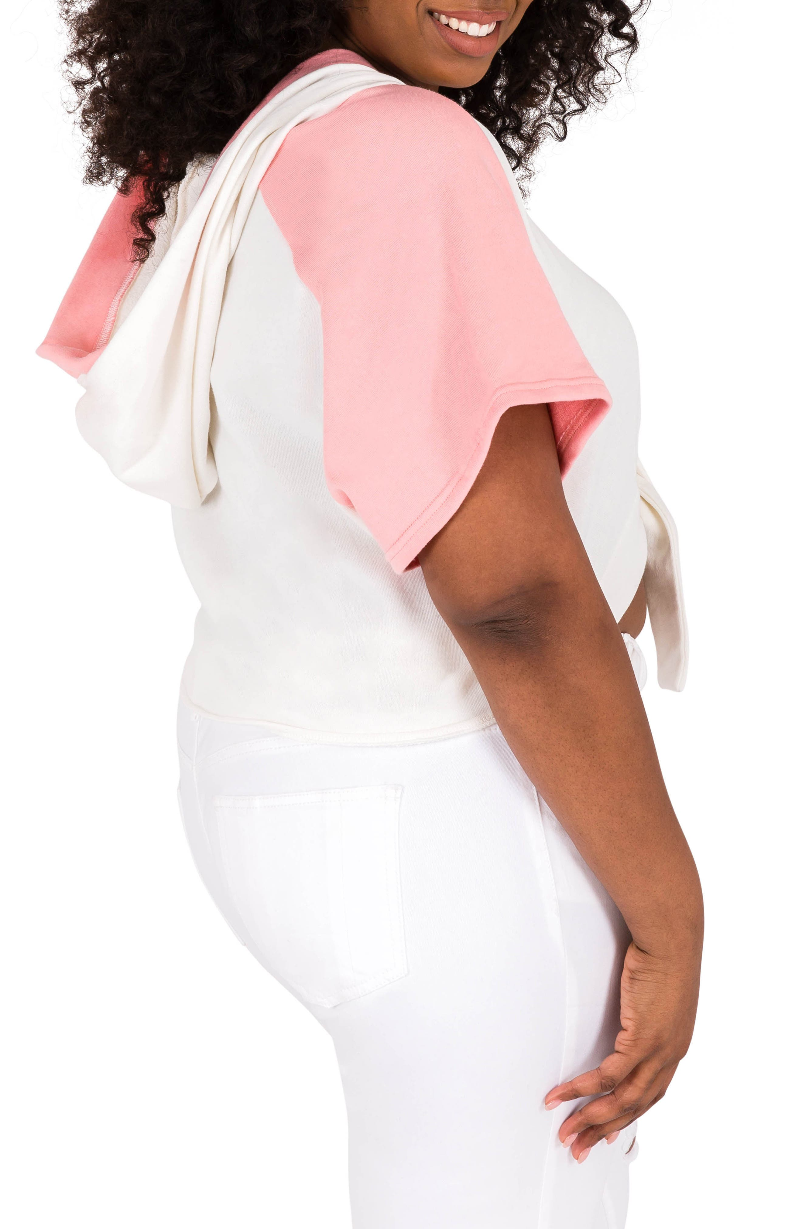Ashira Hoodie Top,                             Alternate thumbnail 3, color,                             White And Pink