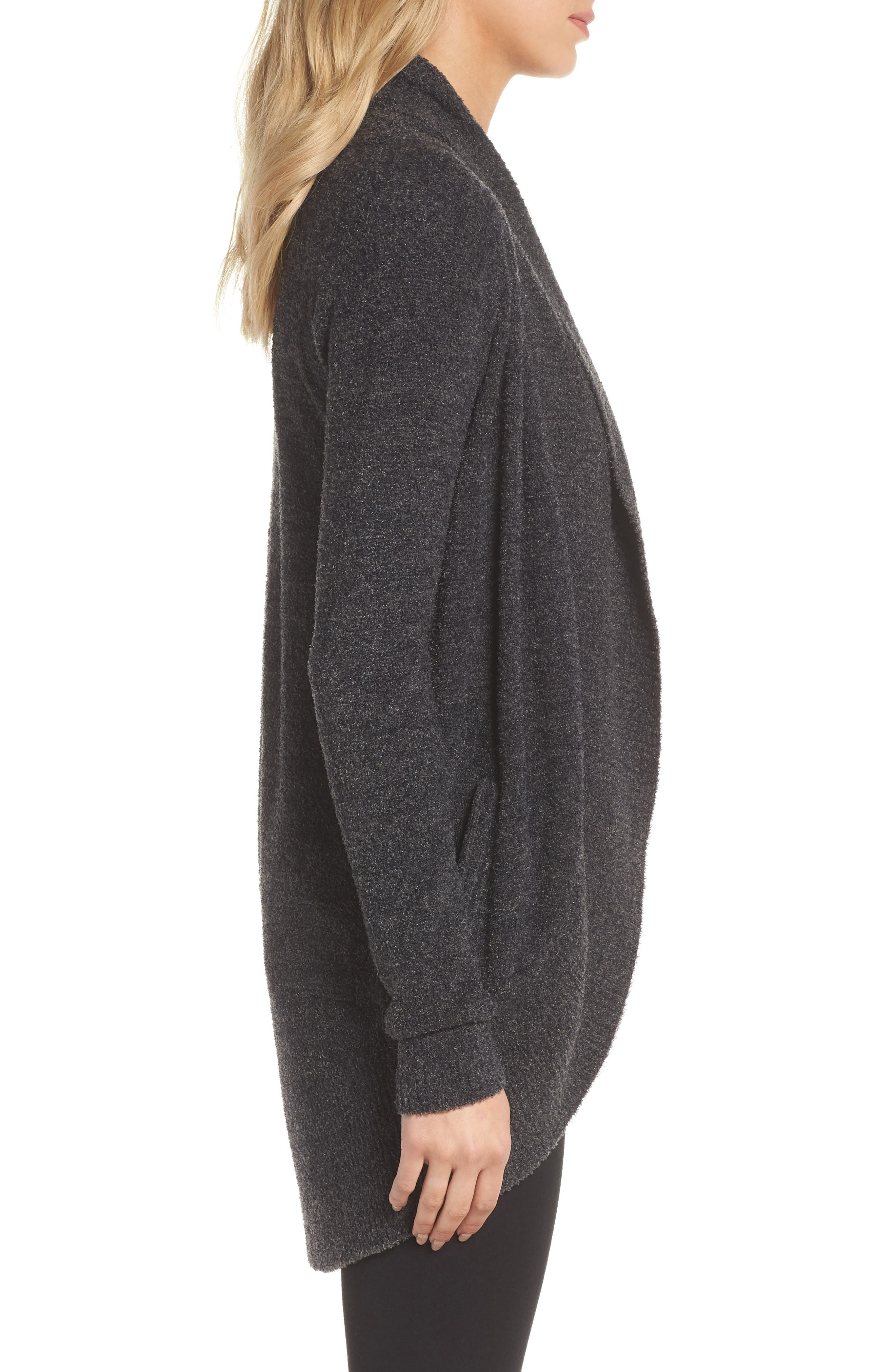 CozyChic Lite<sup>®</sup> Circle Cardigan,                             Alternate thumbnail 3, color,                             Carbon/ Black Heather