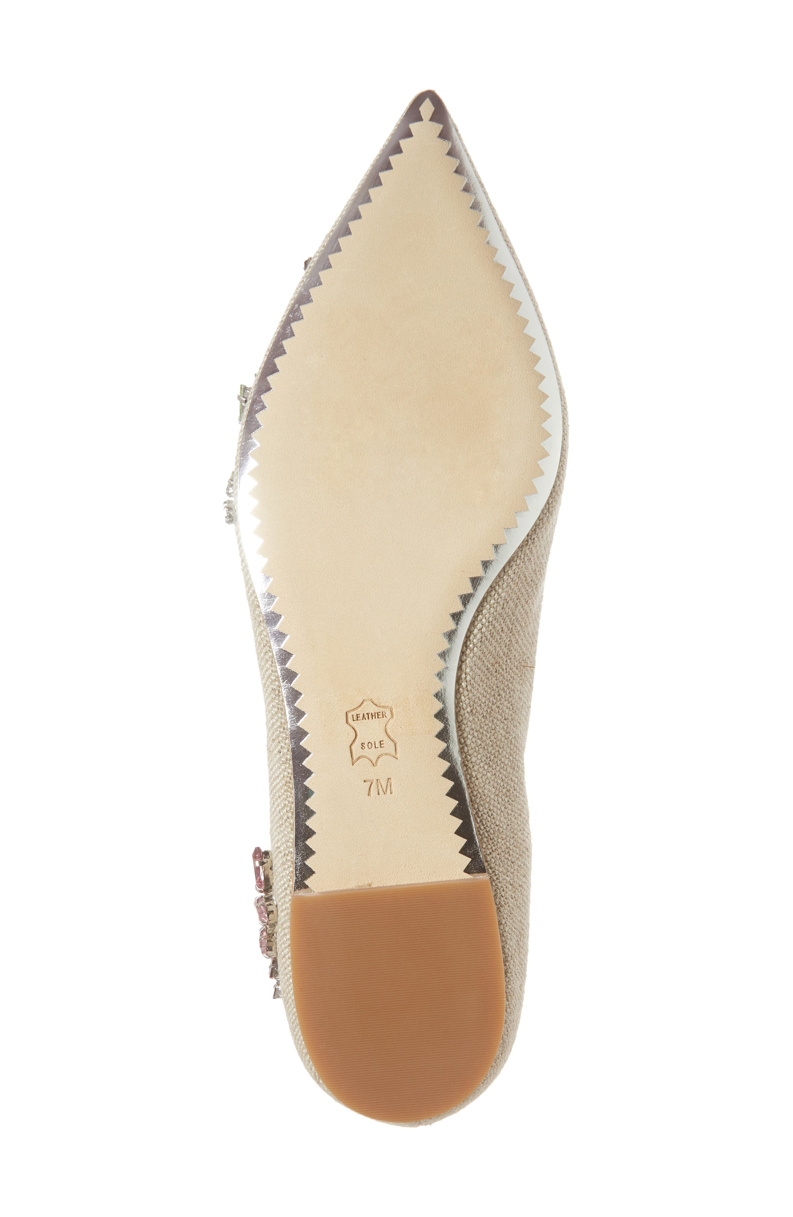 Meadow Embellished Pointy Toe Flat,                             Alternate thumbnail 6, color,                             Natural/ Multi Color