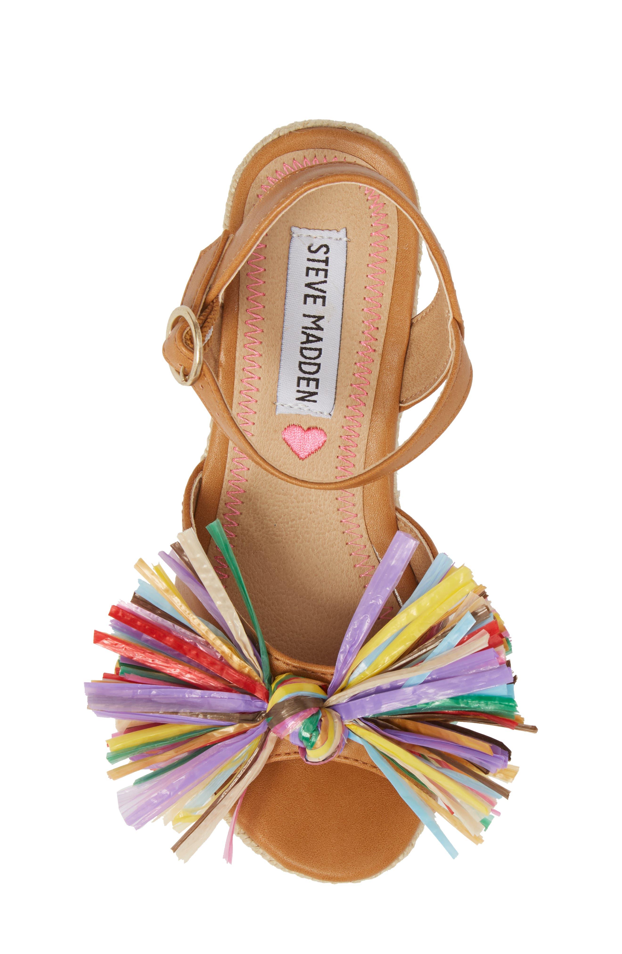 JSTRWBERI Wedge Sandal,                             Alternate thumbnail 5, color,                             Cognac Multi