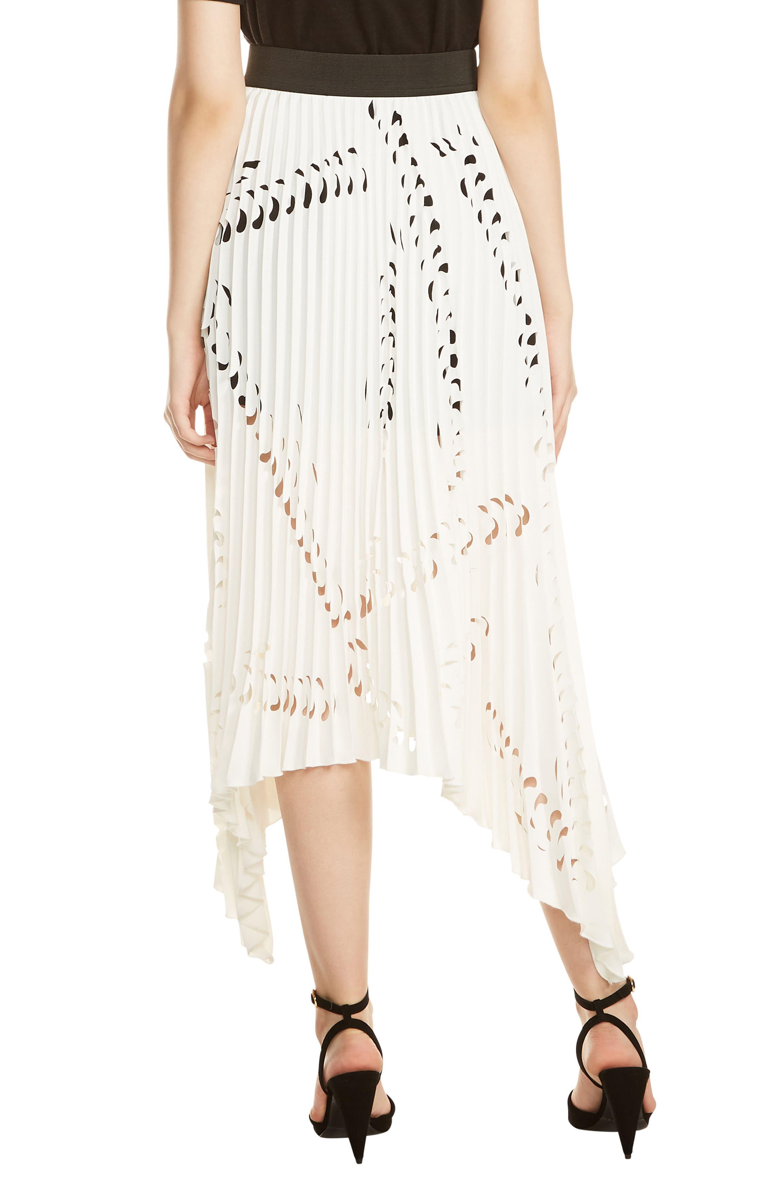 Jeflexe Cutout Pleat Midi Skirt,                             Alternate thumbnail 2, color,                             Blanc