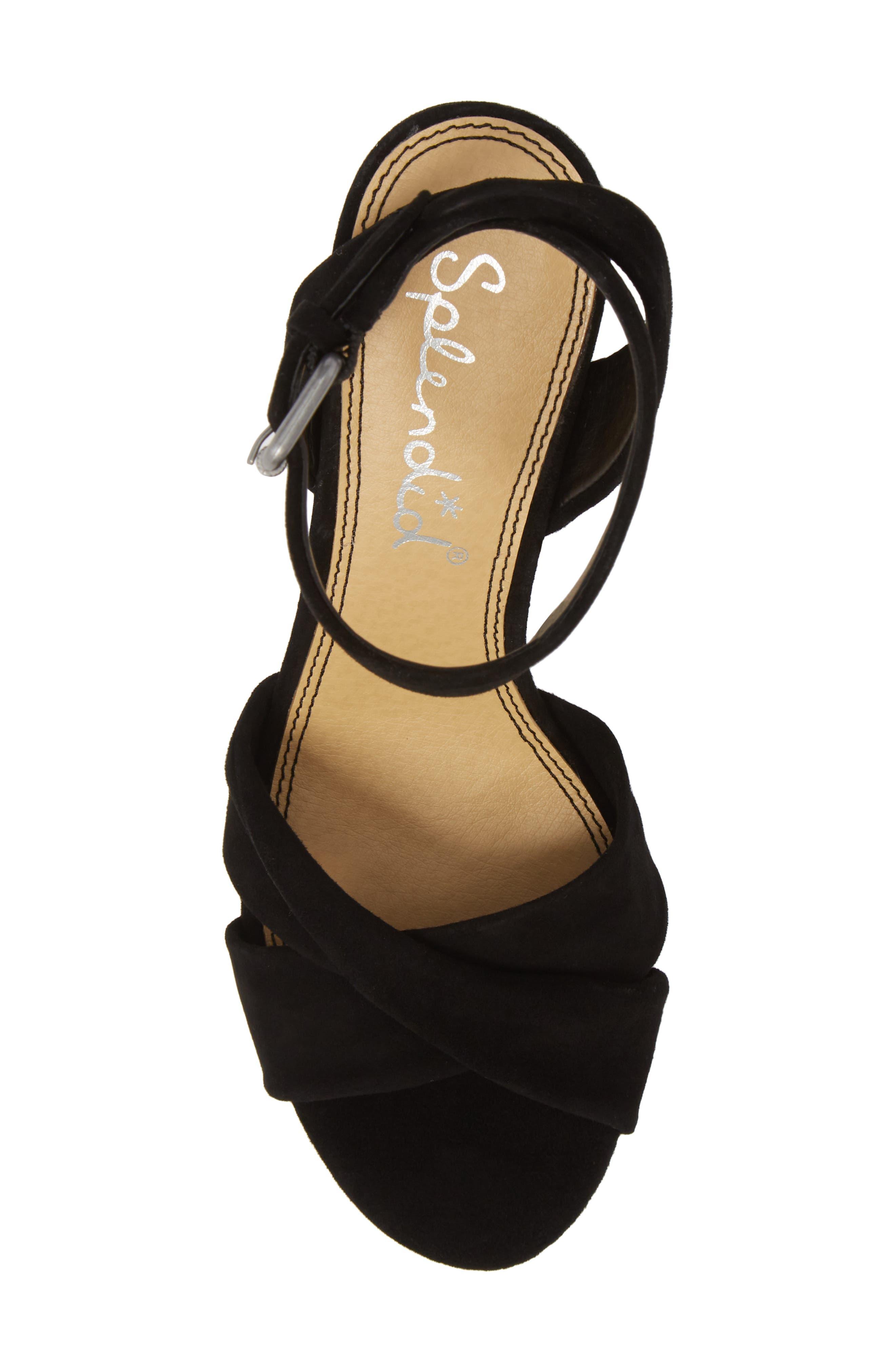 Fairy Block Heel Sandal,                             Alternate thumbnail 5, color,                             Black Suede