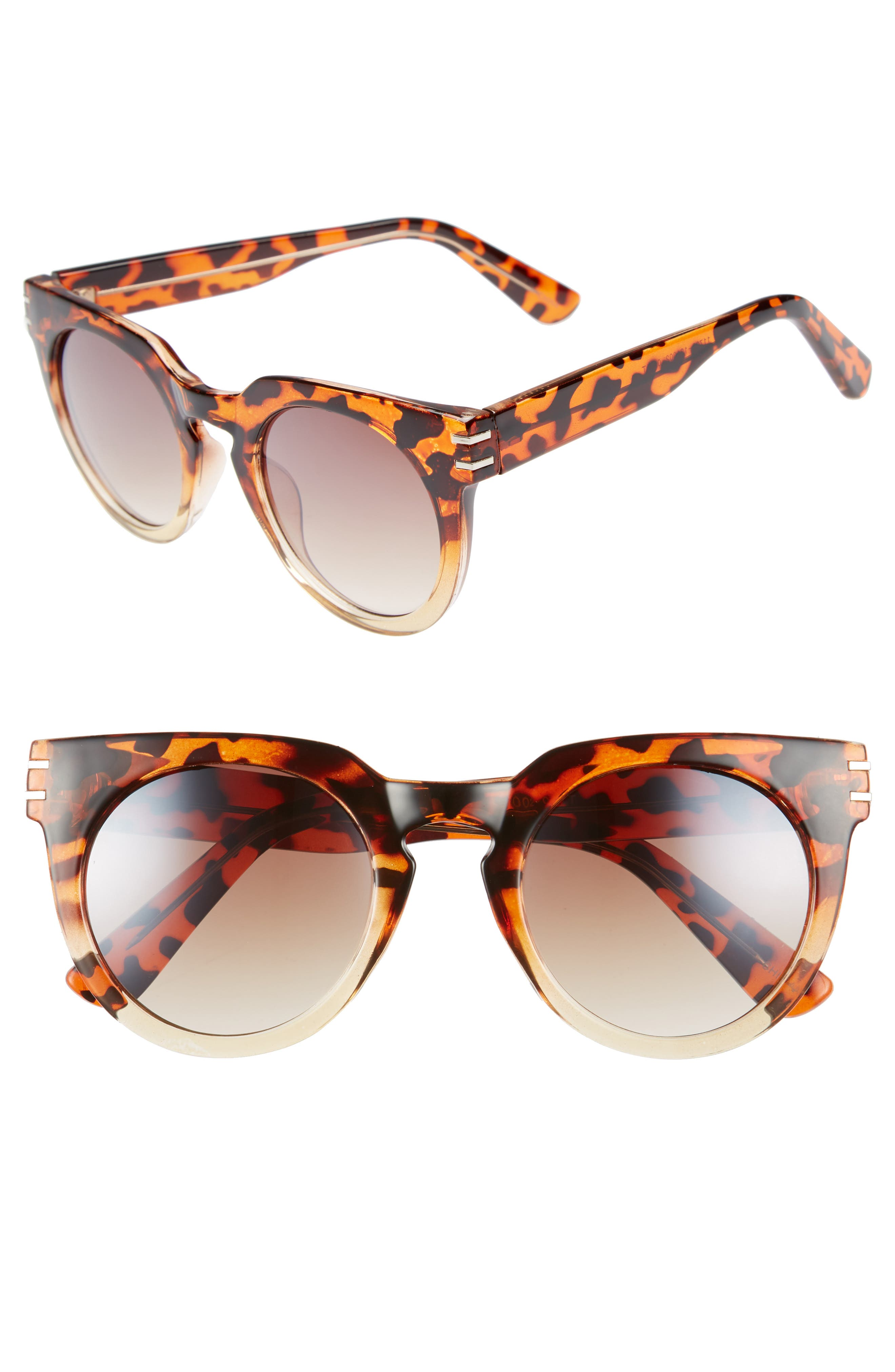 50mm Round Sunglasses,                             Main thumbnail 1, color,                             Leopard/ Brown