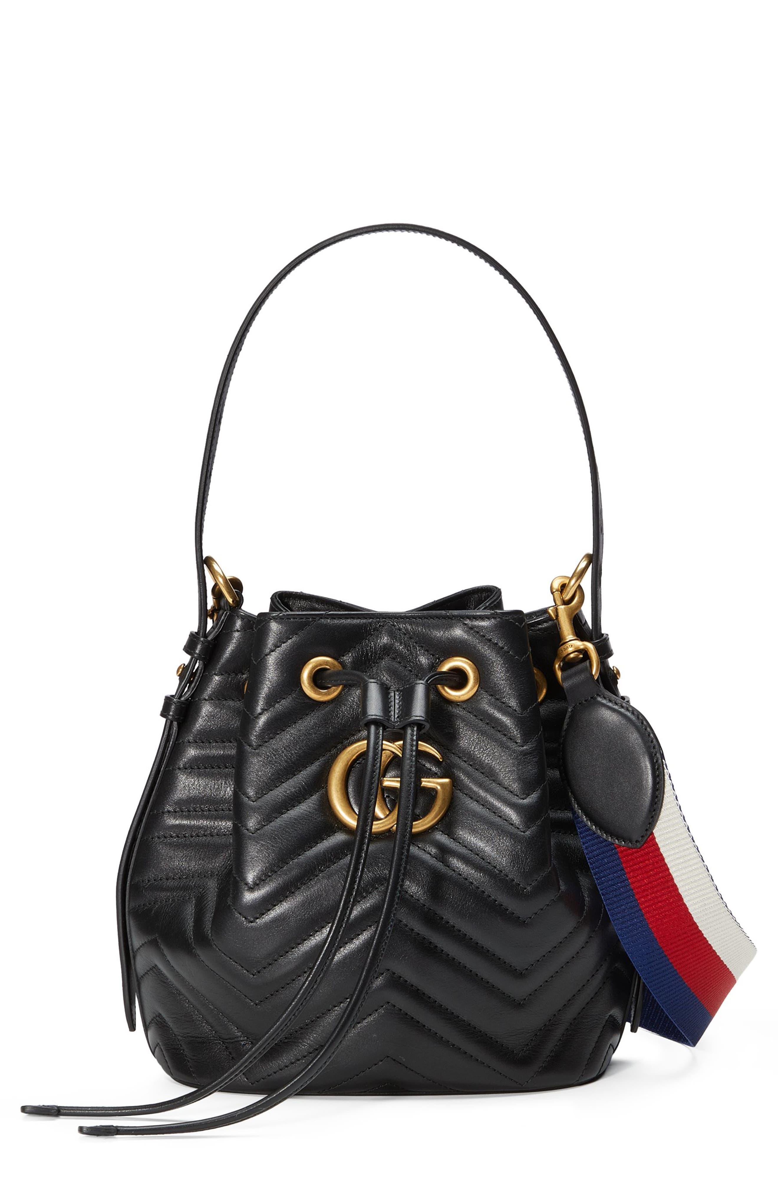 GG Marmont 2.0 Matelassé Leather Bucket Bag,                             Main thumbnail 1, color,                             Nero