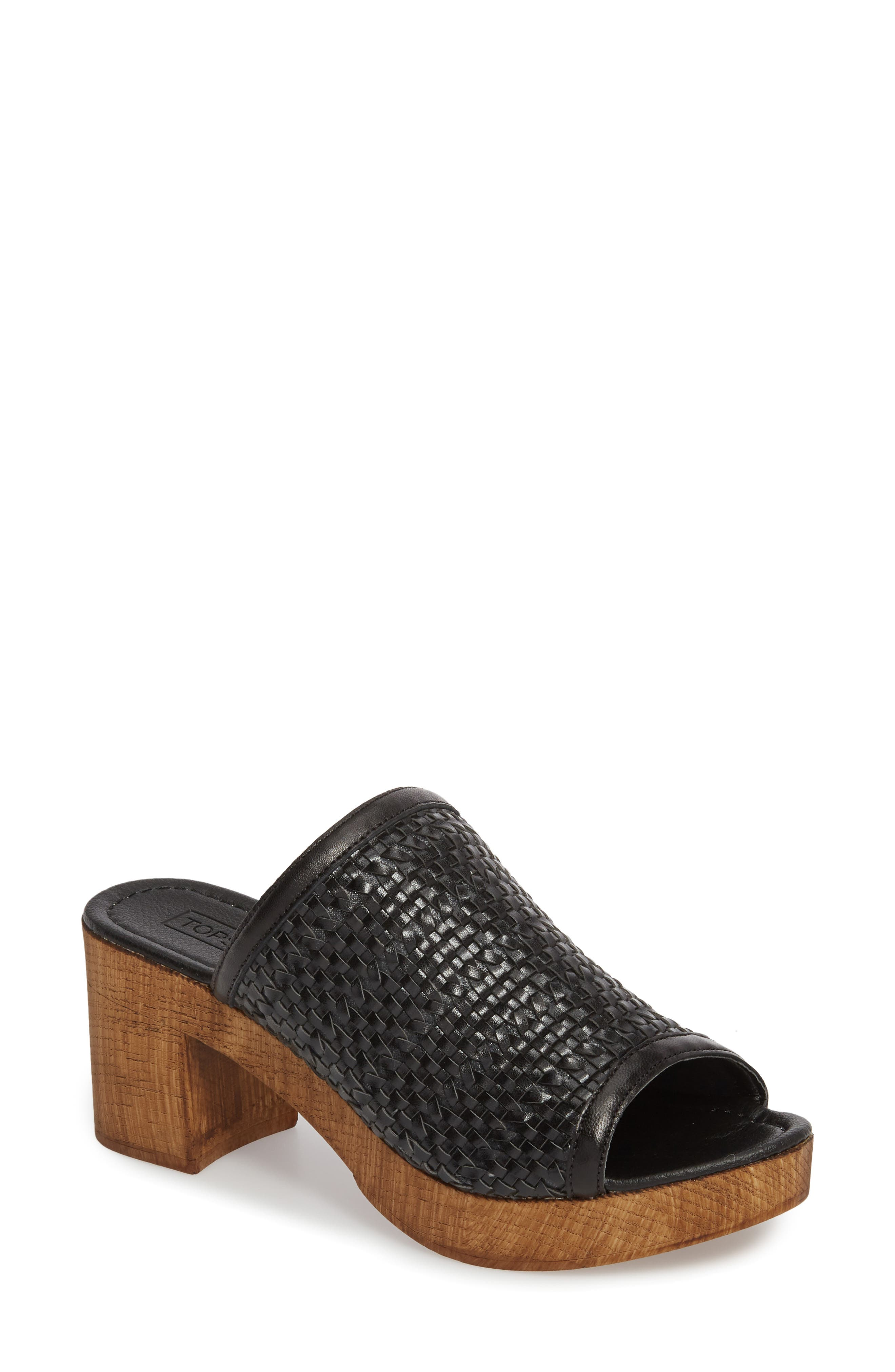 Village Woven Slide Sandal,                         Main,                         color, Black
