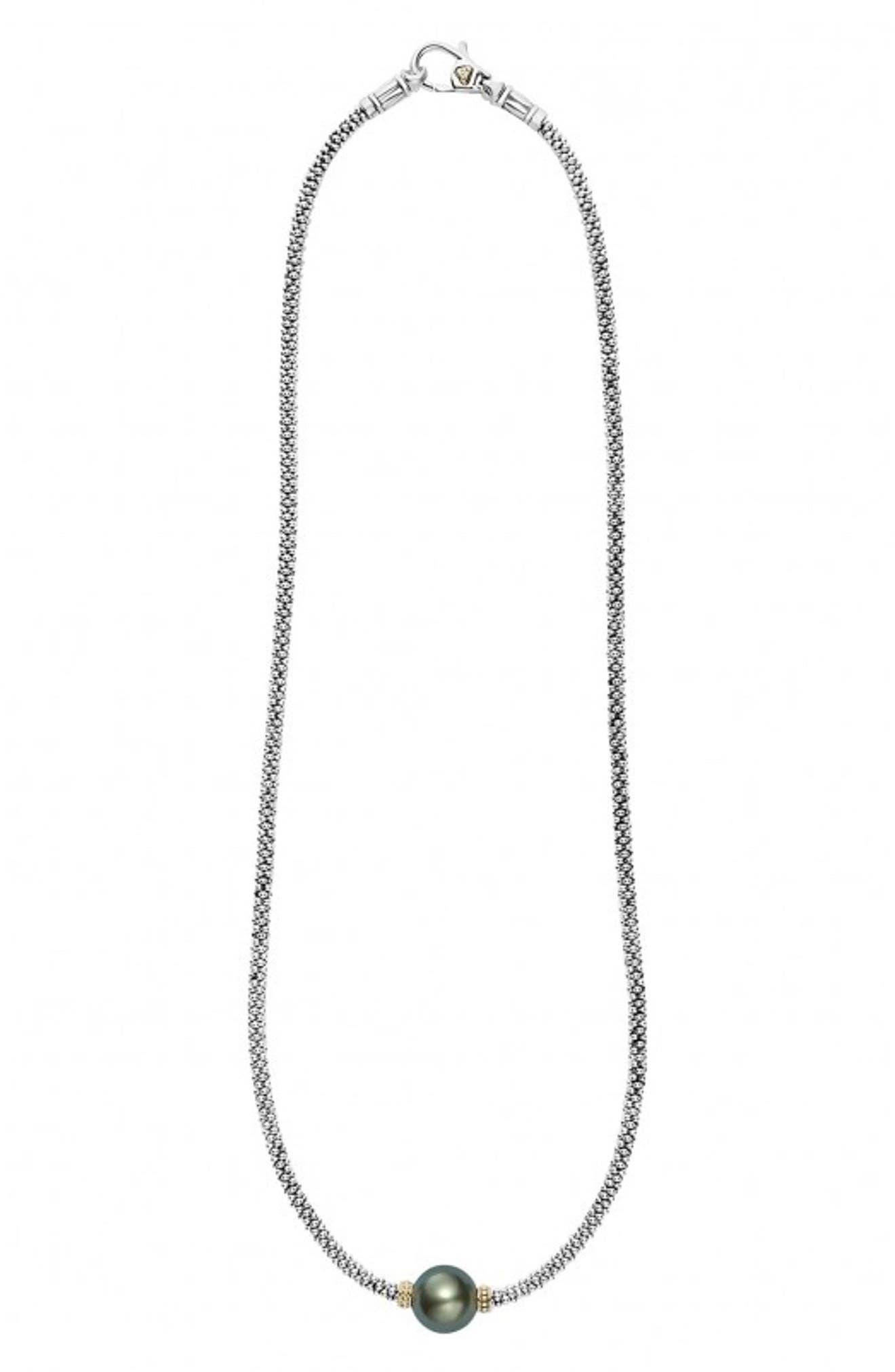 Luna Pearl Collar Necklace,                         Main,                         color, Black Pearl