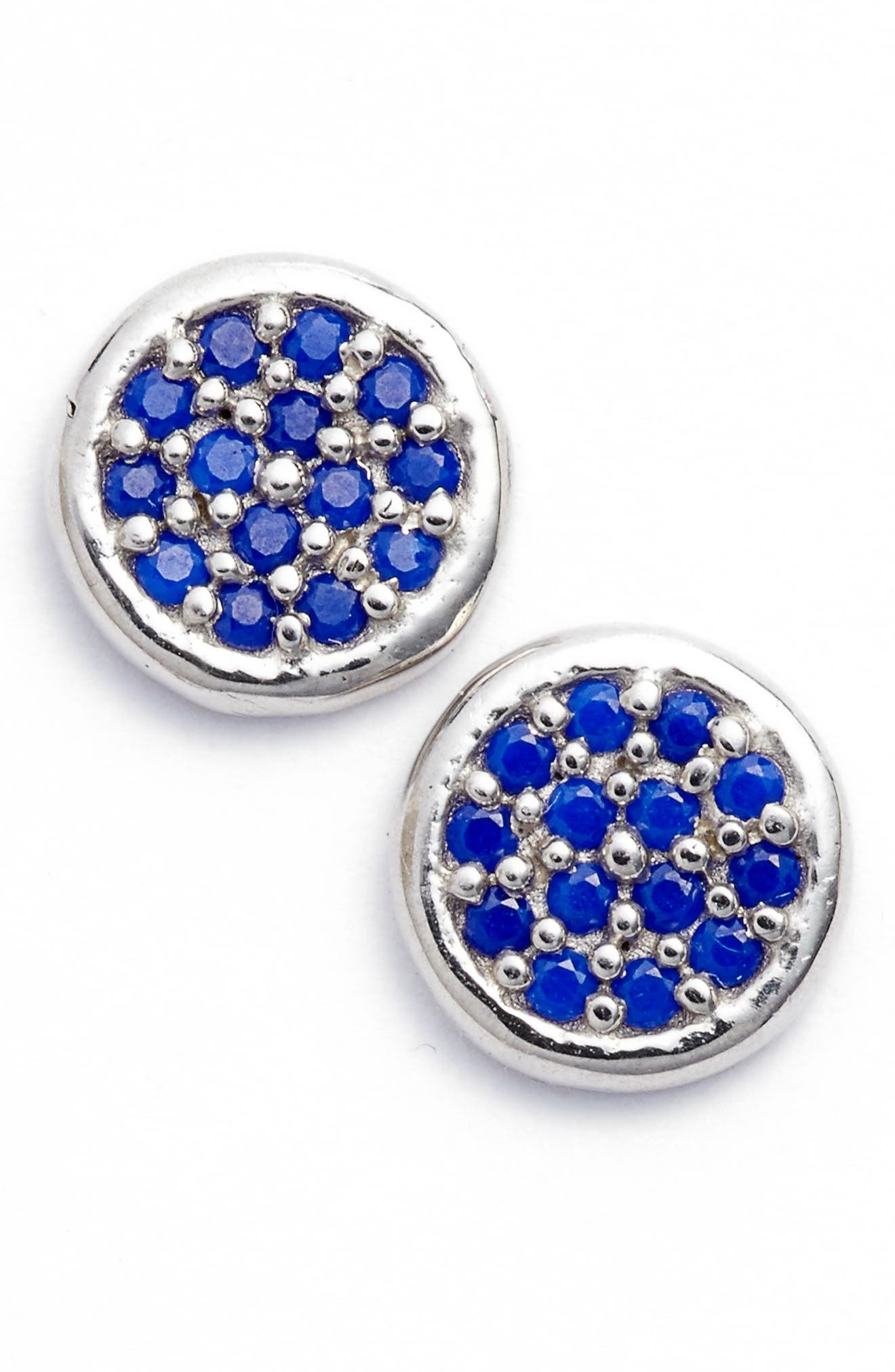 Cubic Zirconia Stud Earrings,                         Main,                         color, Lapis/ Silver