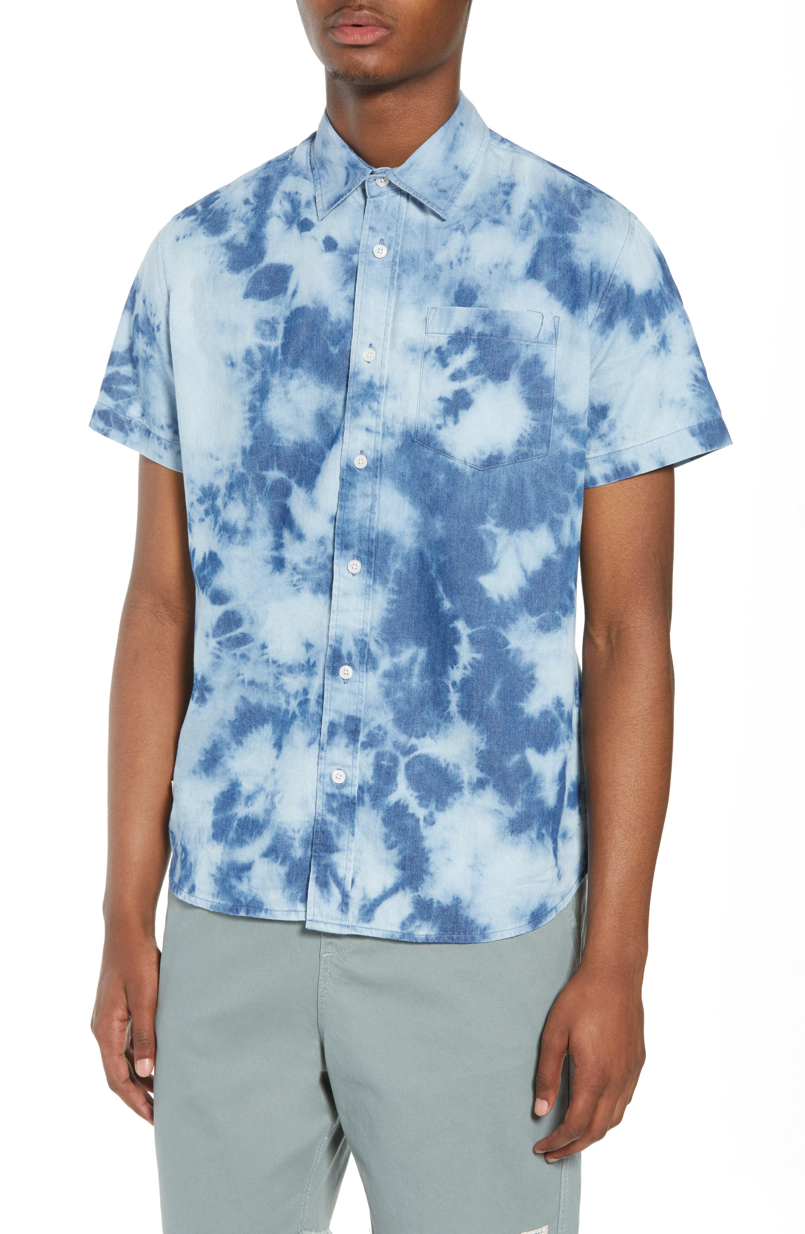 Bleacher Creature Woven Shirt,                             Main thumbnail 1, color,                             Blue