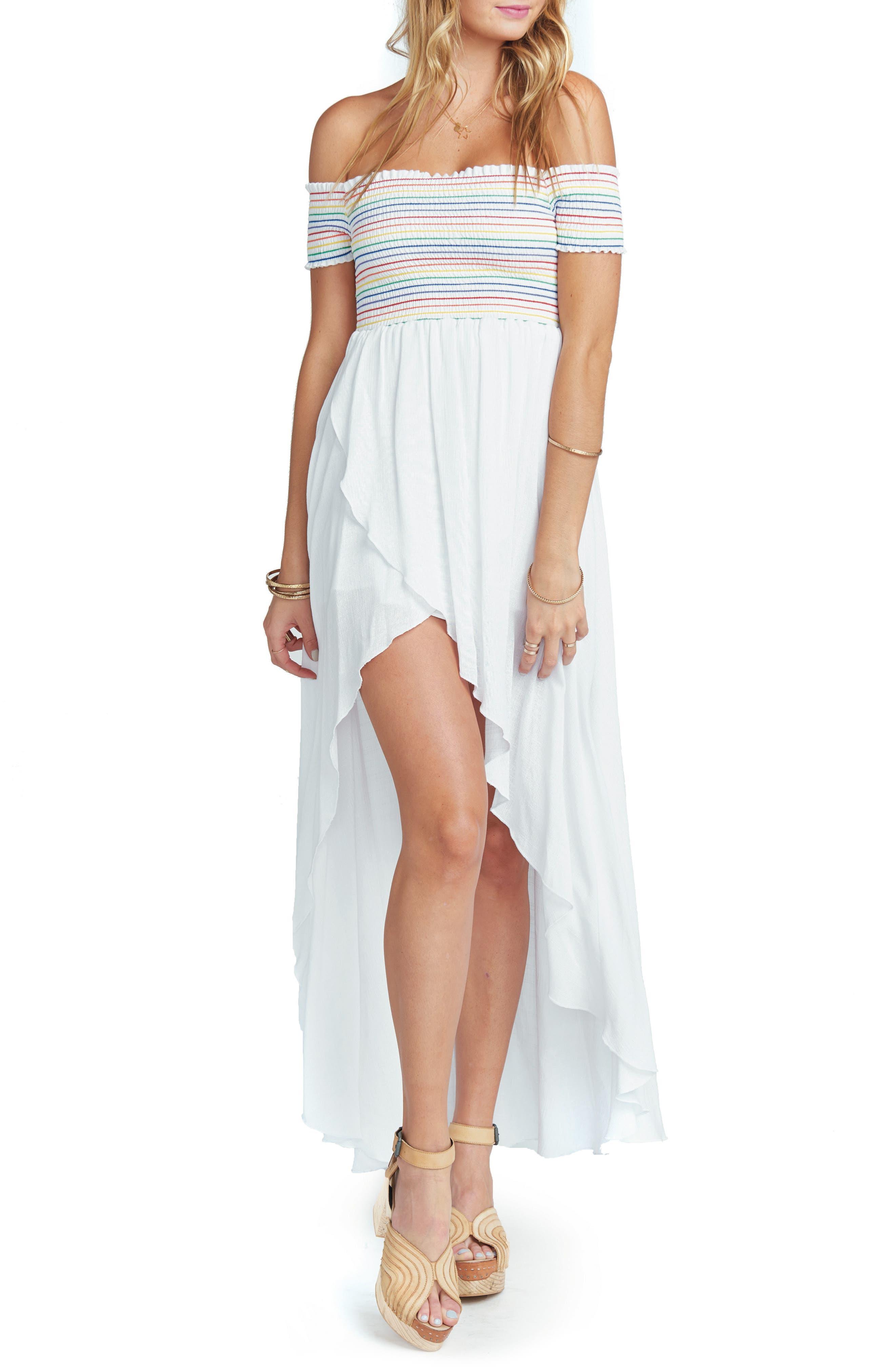 Willa Maxi Dress,                             Main thumbnail 1, color,                             White Cruise With Rainbow