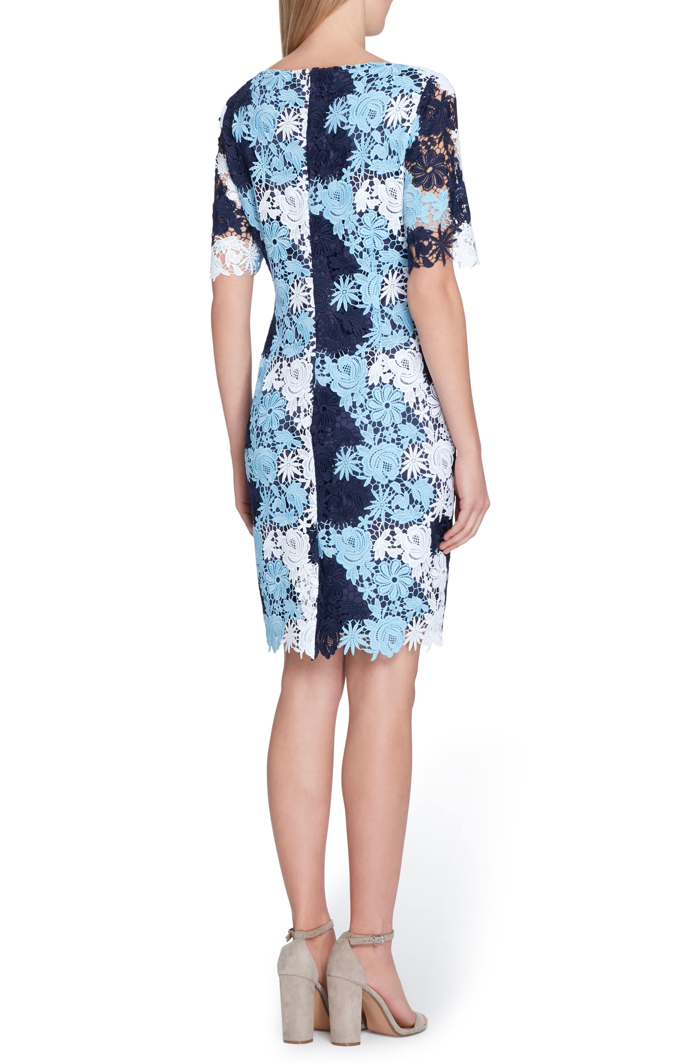 Multicolor Lace Sheath Dress,                             Alternate thumbnail 2, color,                             Navy/ Sky/ Pale Blue