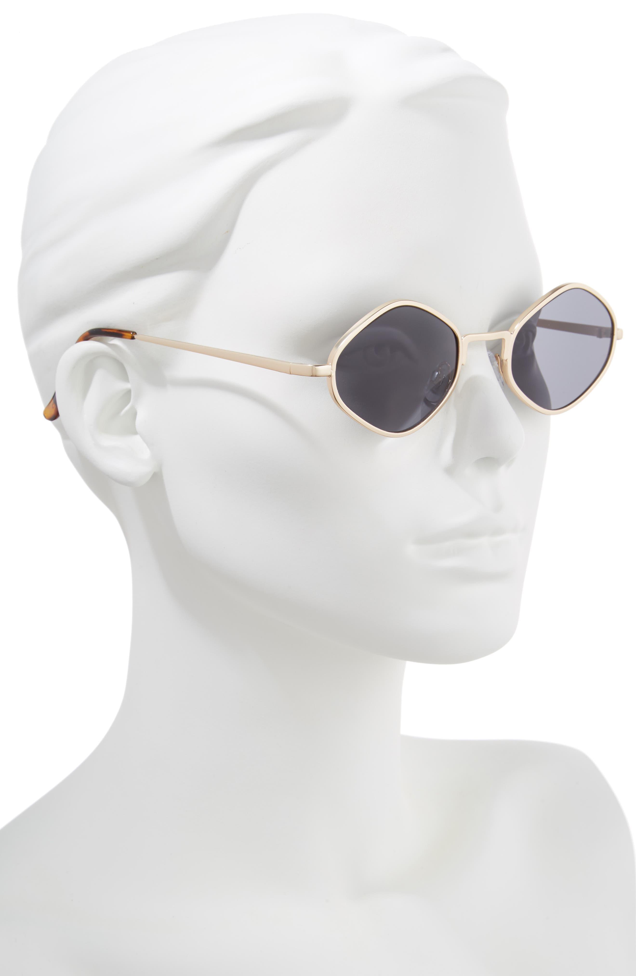 Geo Metal Sunglasses,                             Alternate thumbnail 2, color,                             Gold/ Tort