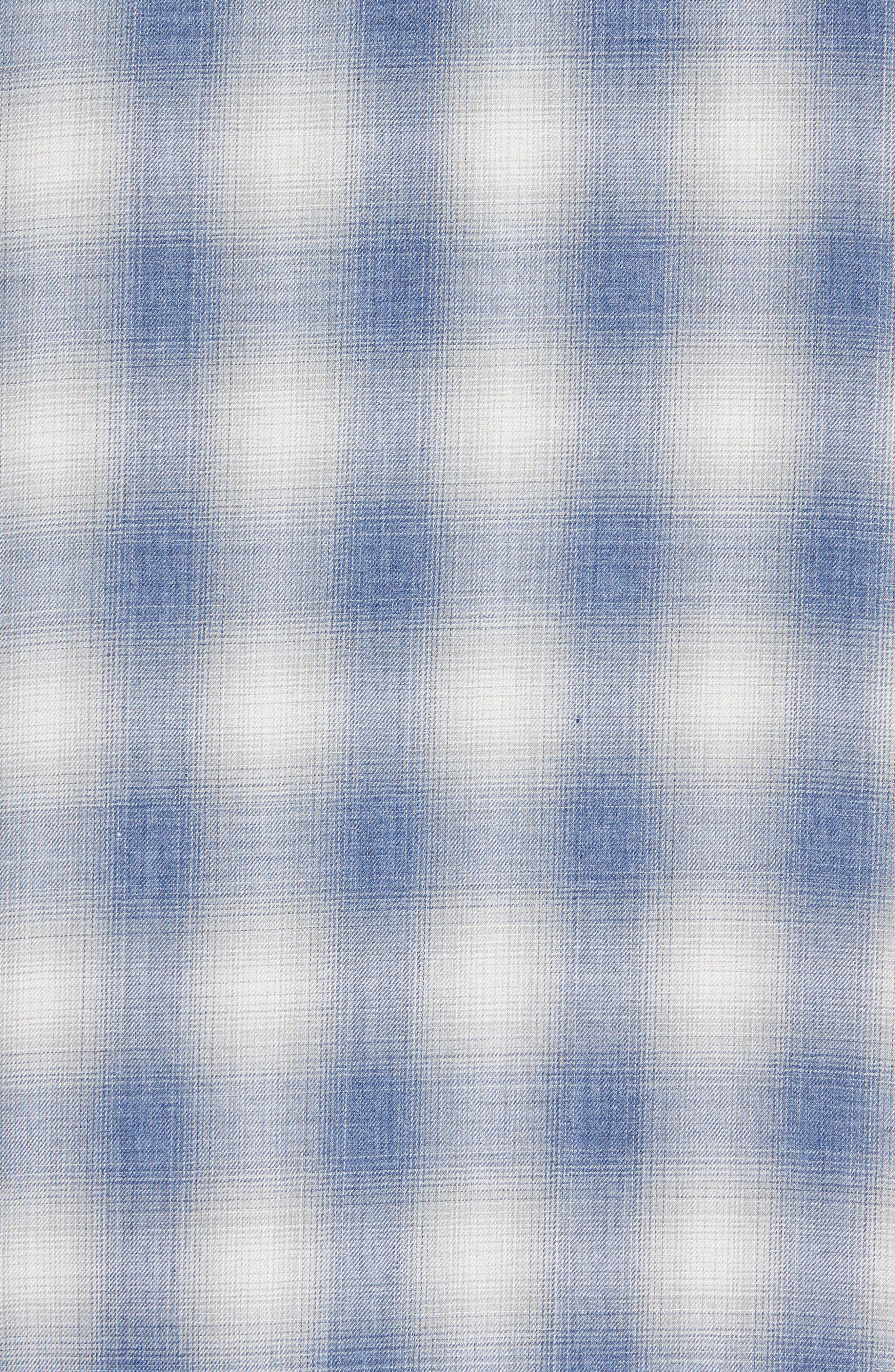 Shadow Slim Fit Plaid Sport Shirt,                             Alternate thumbnail 5, color,                             Spruce Blue