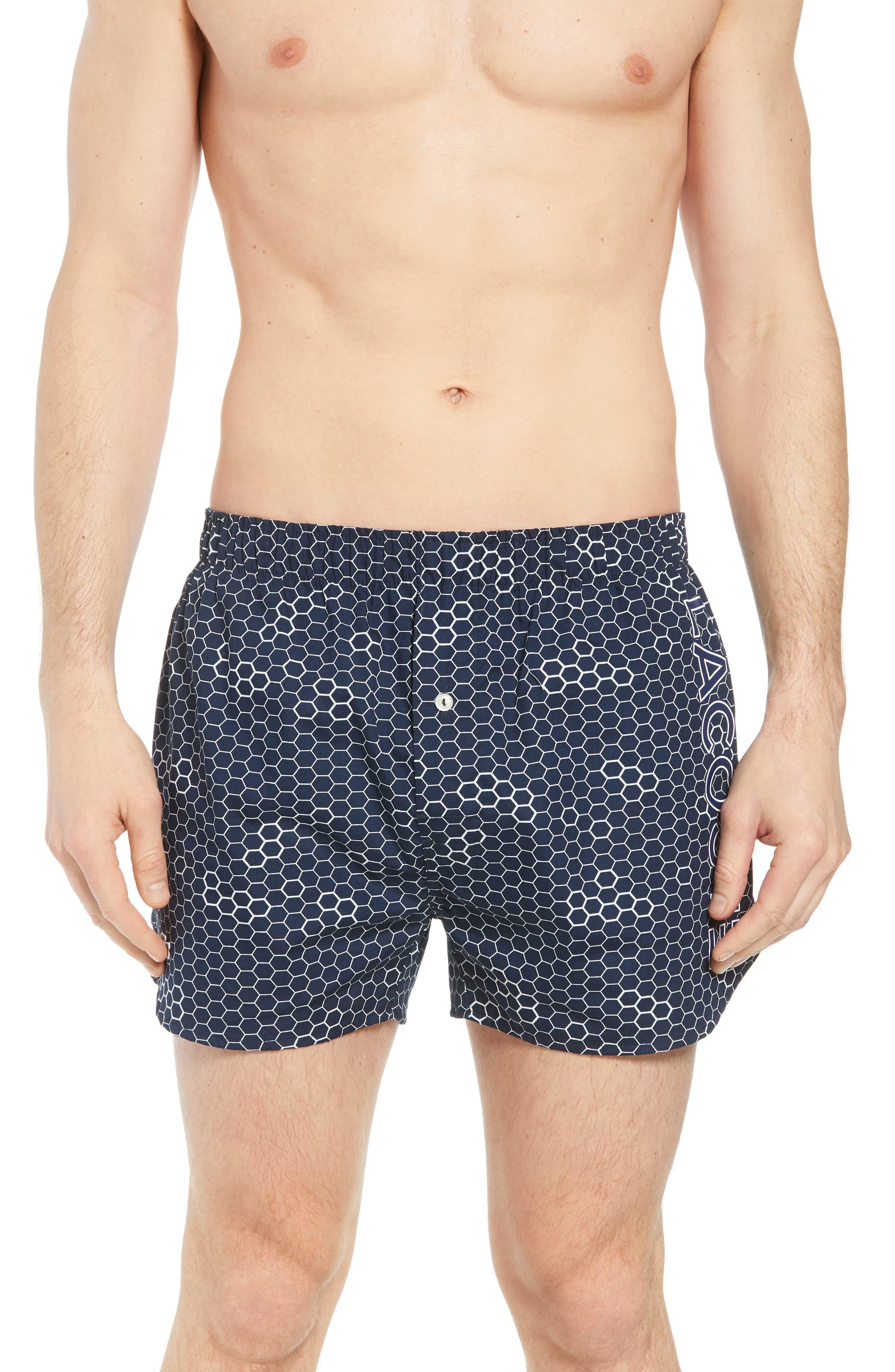 Honeycomb Cotton Boxers,                         Main,                         color, Blue
