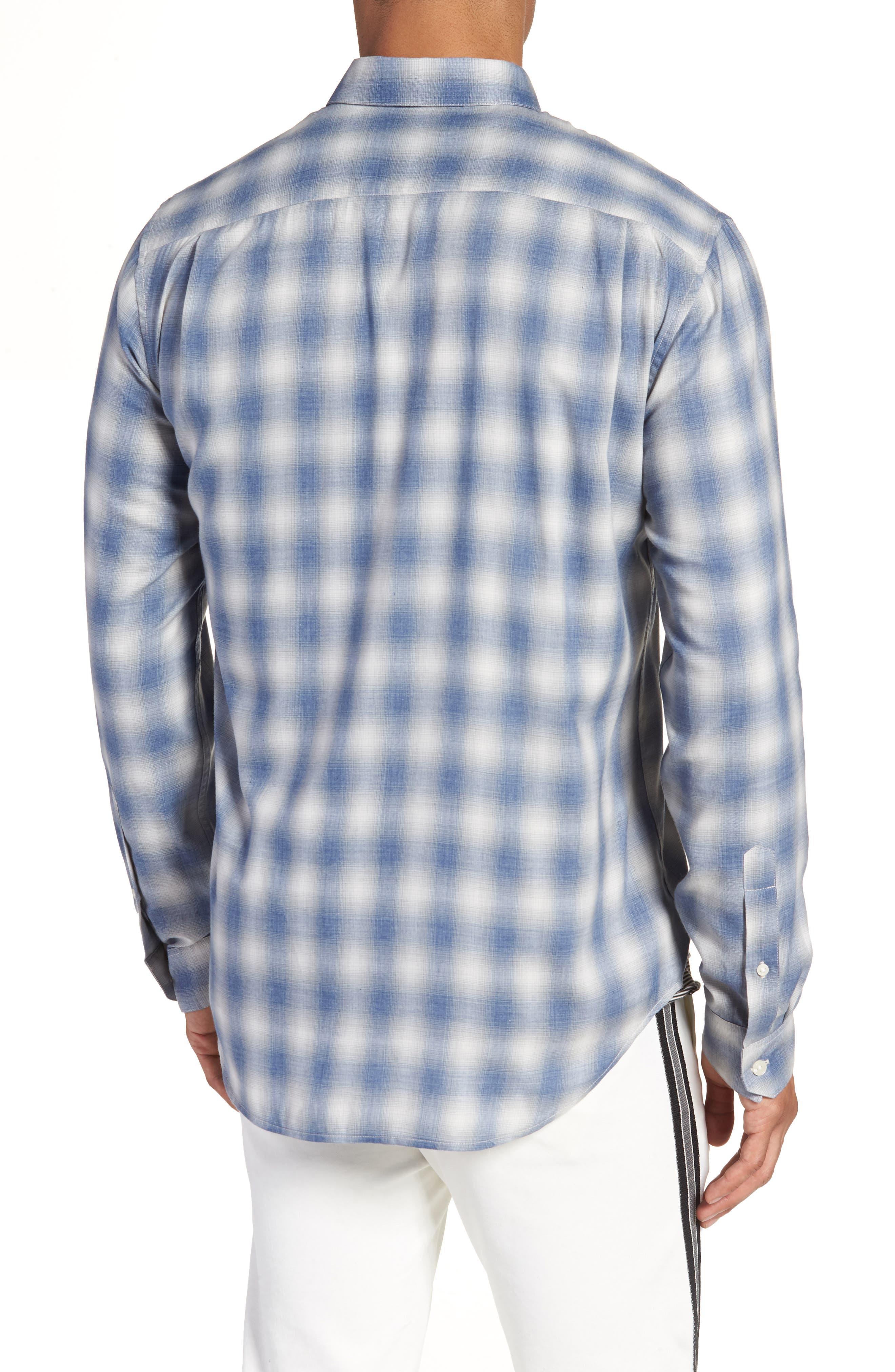 Shadow Slim Fit Plaid Sport Shirt,                             Alternate thumbnail 2, color,                             Spruce Blue