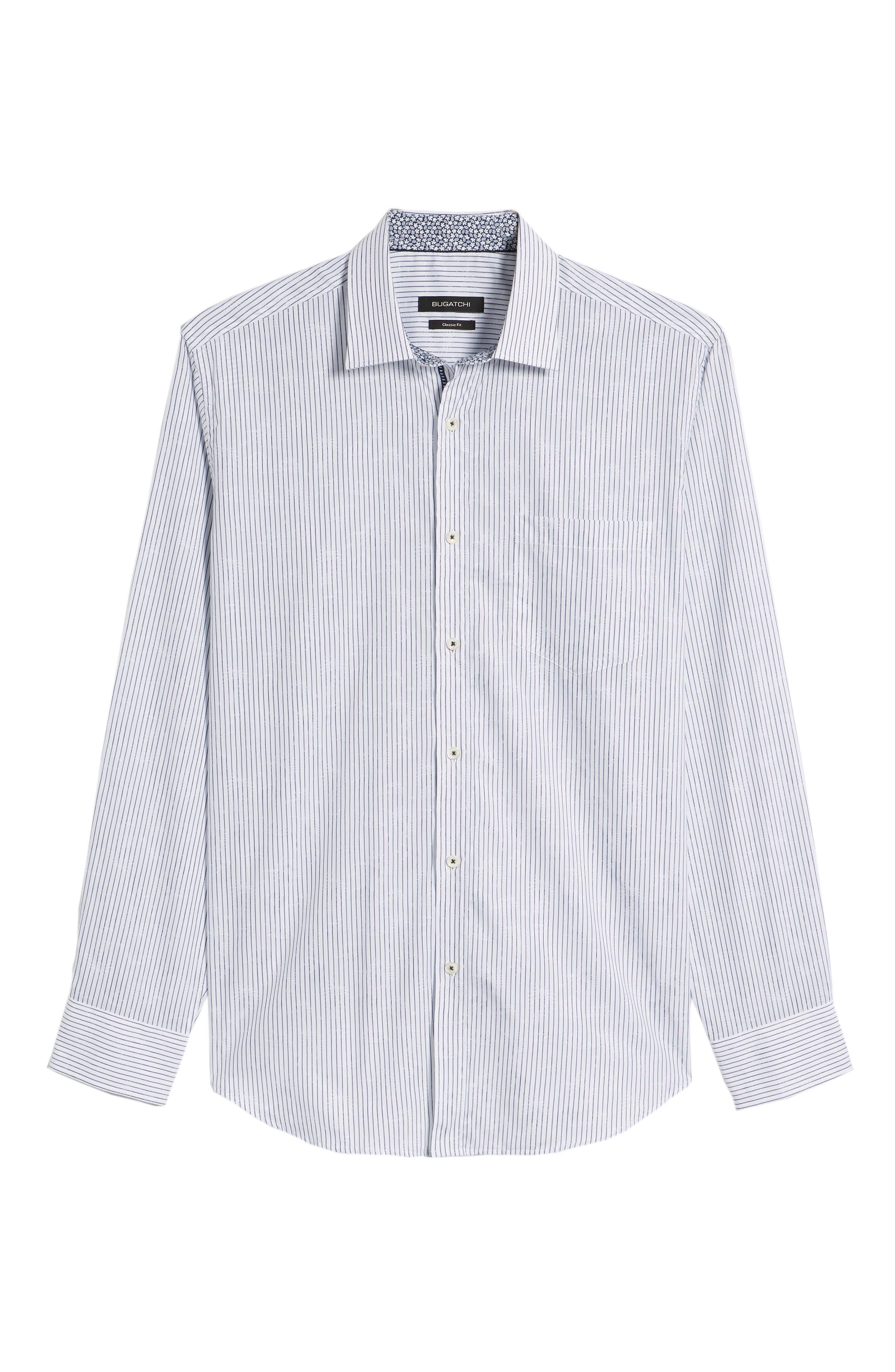 Classic Fit Stripe Jacquard Sport Shirt,                             Alternate thumbnail 6, color,                             Navy