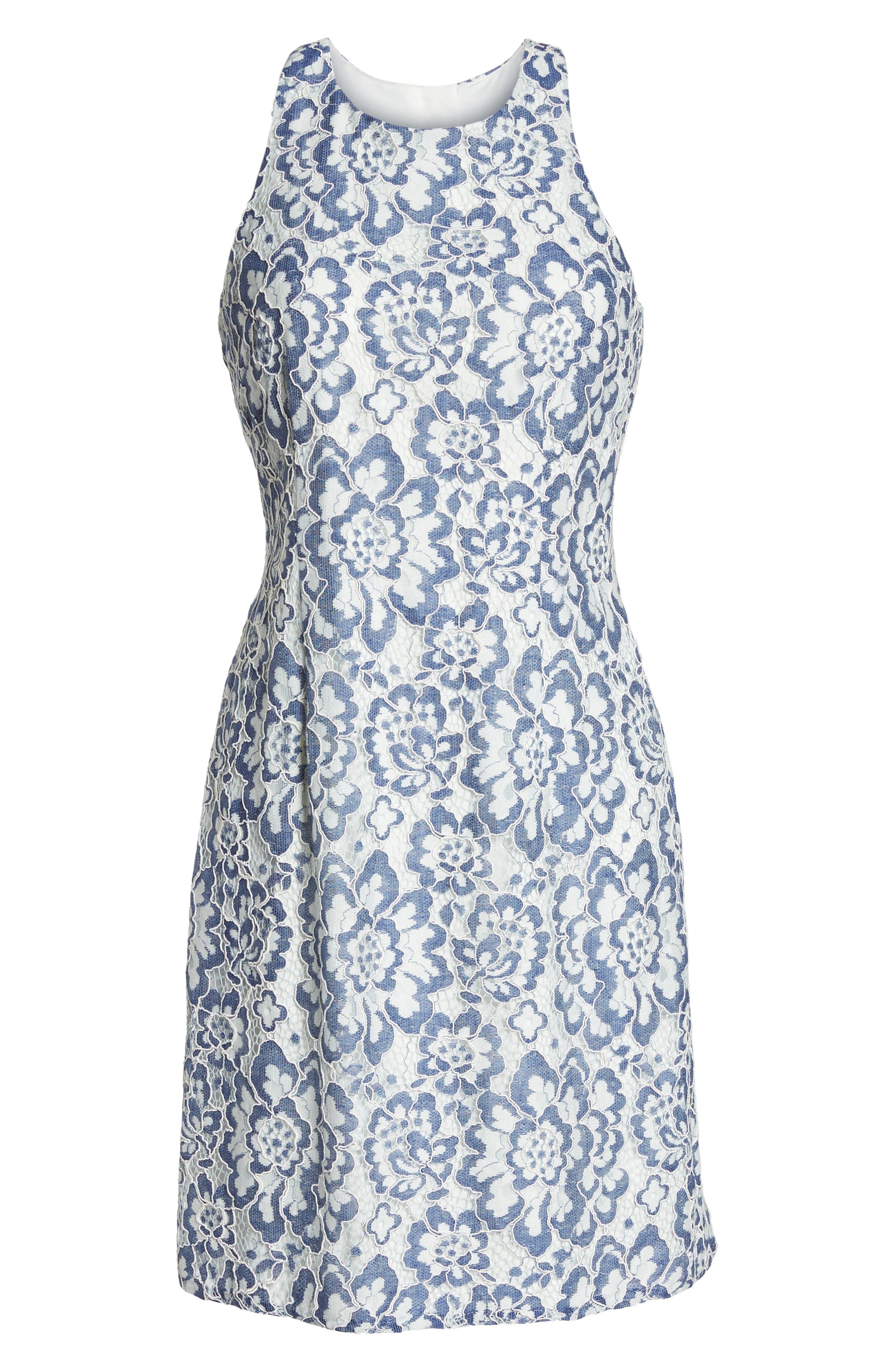 Elisa Two Tone Lace Sheath Dress,                             Alternate thumbnail 7, color,                             Blue/ White