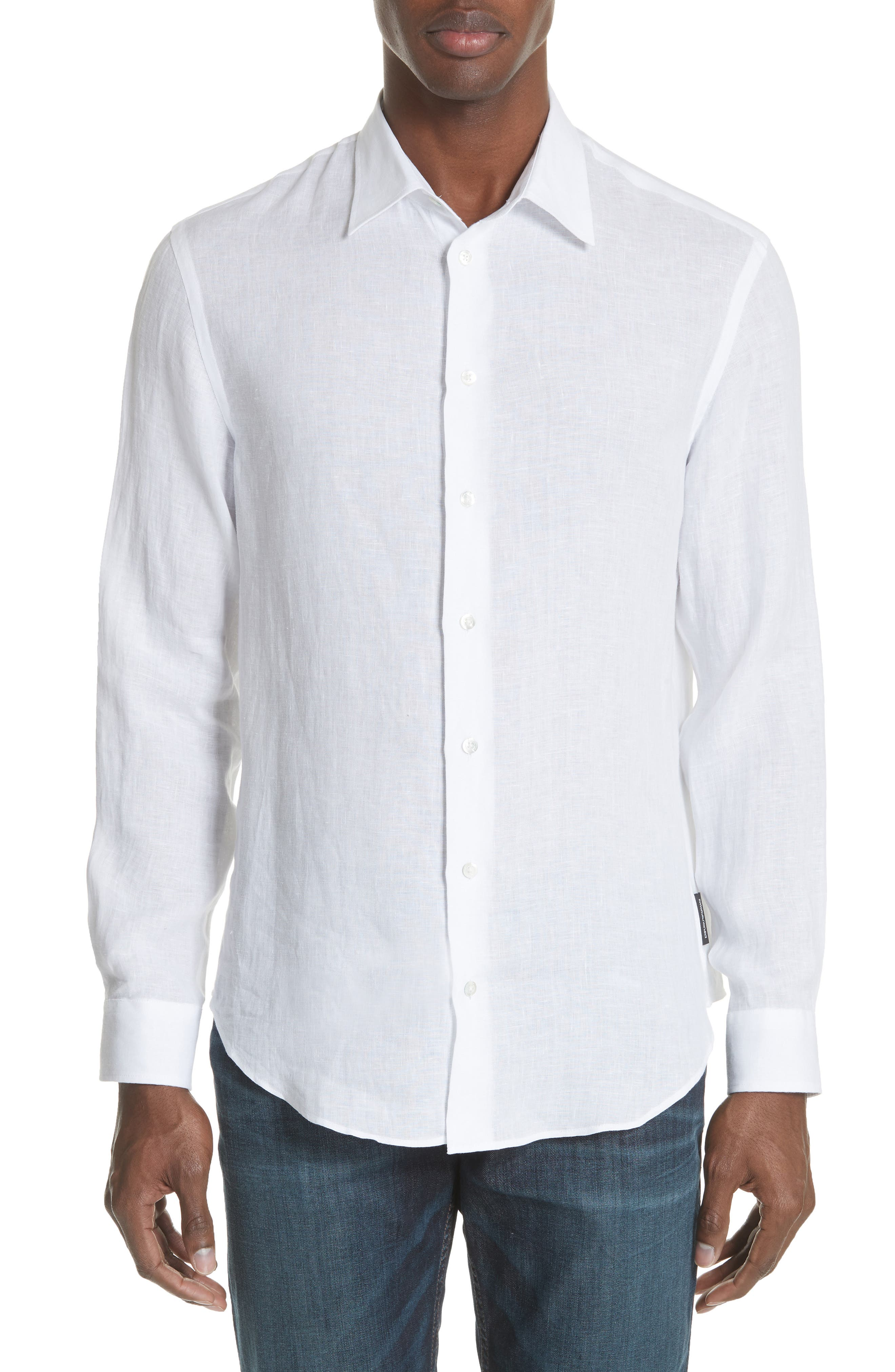 Regular Fit Linen Dress Shirt,                             Main thumbnail 1, color,                             White