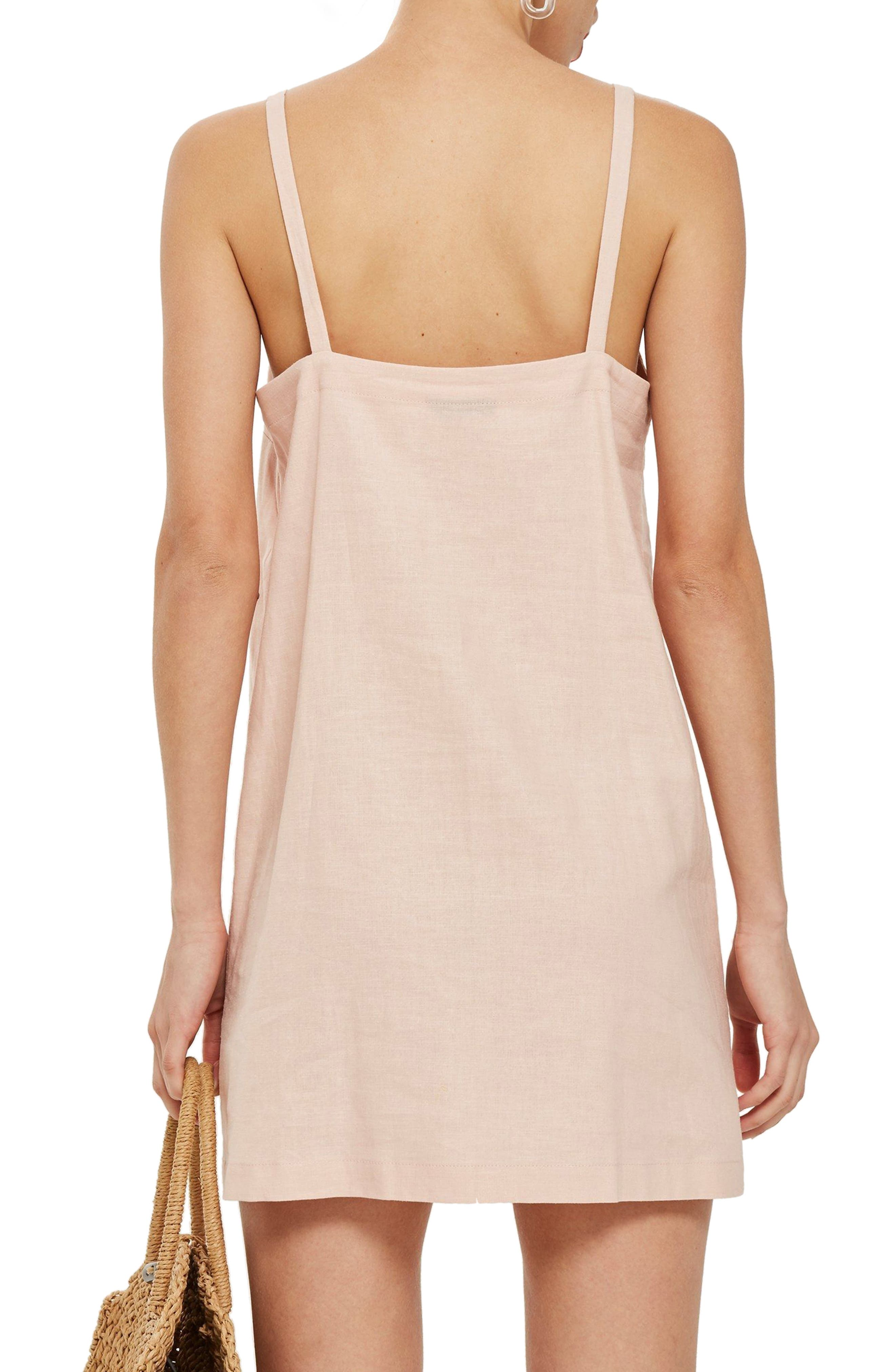 Button Mini Slipdress,                             Alternate thumbnail 3, color,                             Light Pink