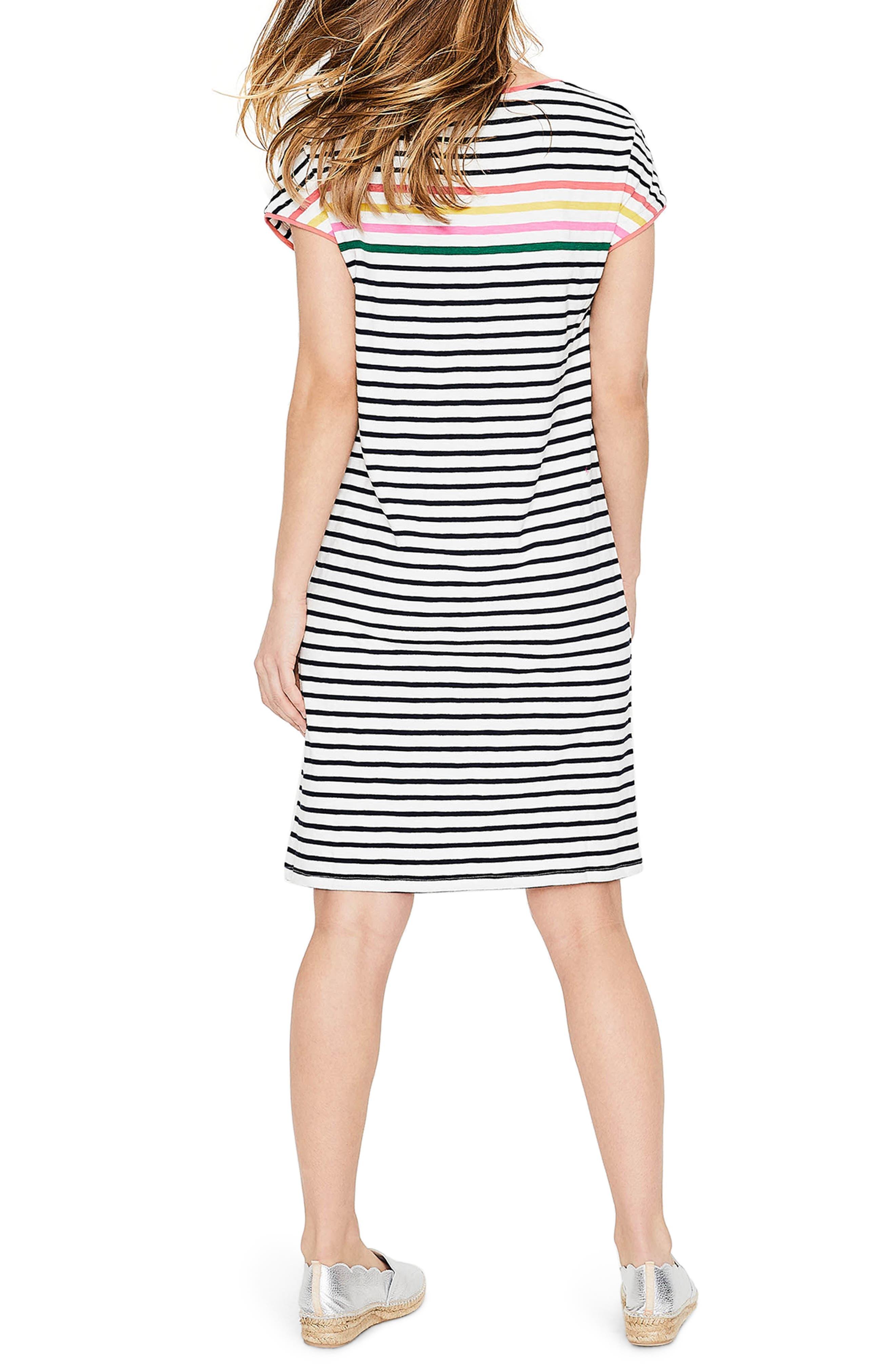 Paulina Stripe T-Shirt Dress,                             Alternate thumbnail 2, color,                             Rainbow Multi Stripe