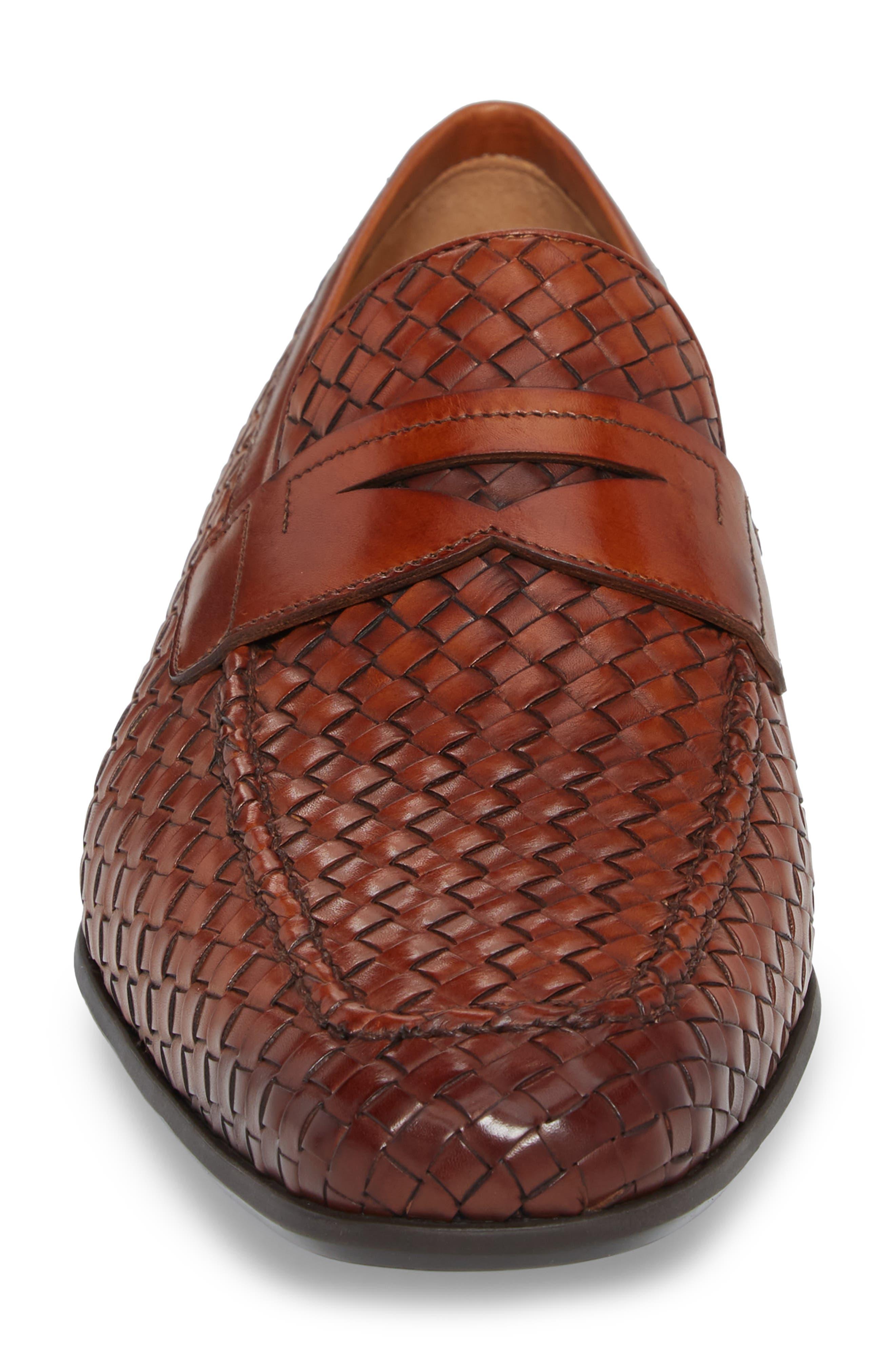 Rafa II Woven Penny Loafer,                             Alternate thumbnail 4, color,                             Cognac Leather