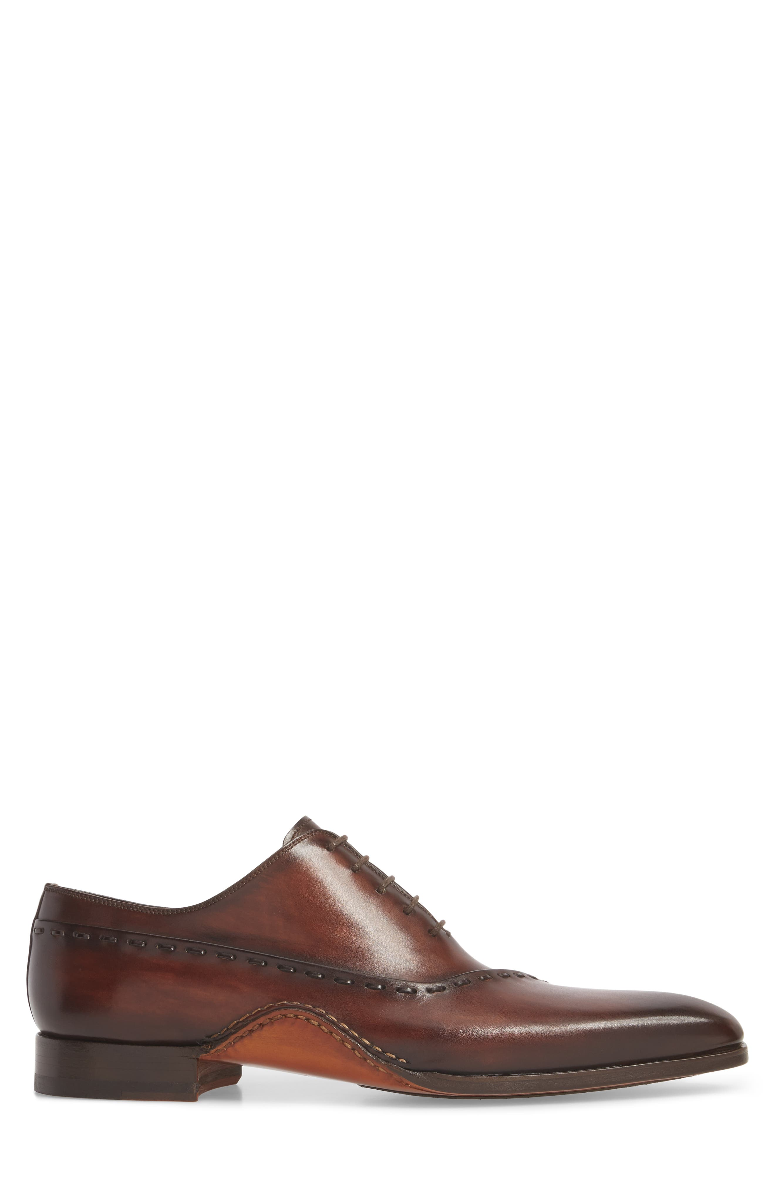 Kobe Asymmetrical Whole Cut Shoe,                             Alternate thumbnail 3, color,                             Mid-Brown Leather