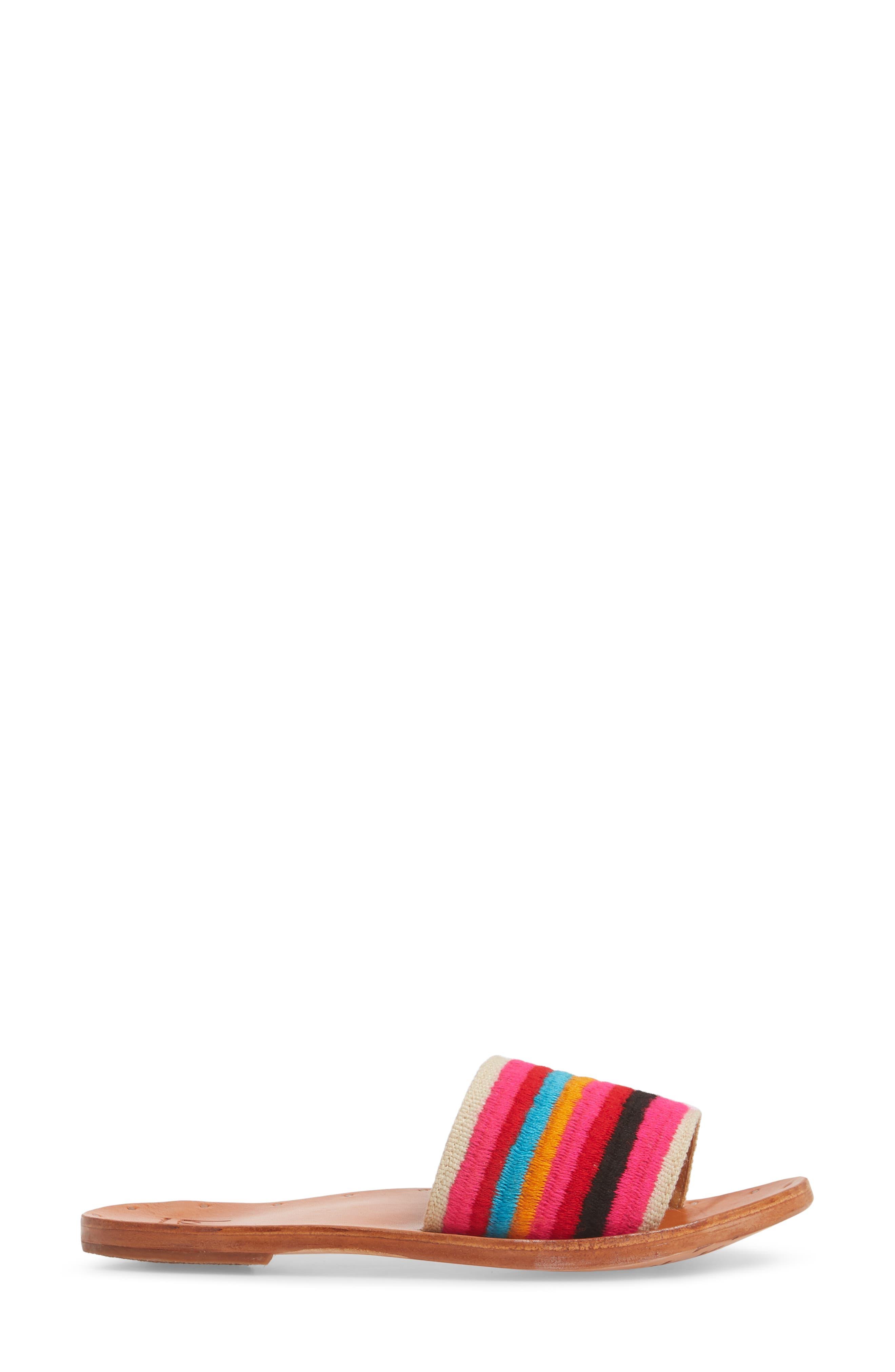 Lovebird Embroidered Slide Sandal,                             Alternate thumbnail 3, color,                             Multi/ Tan