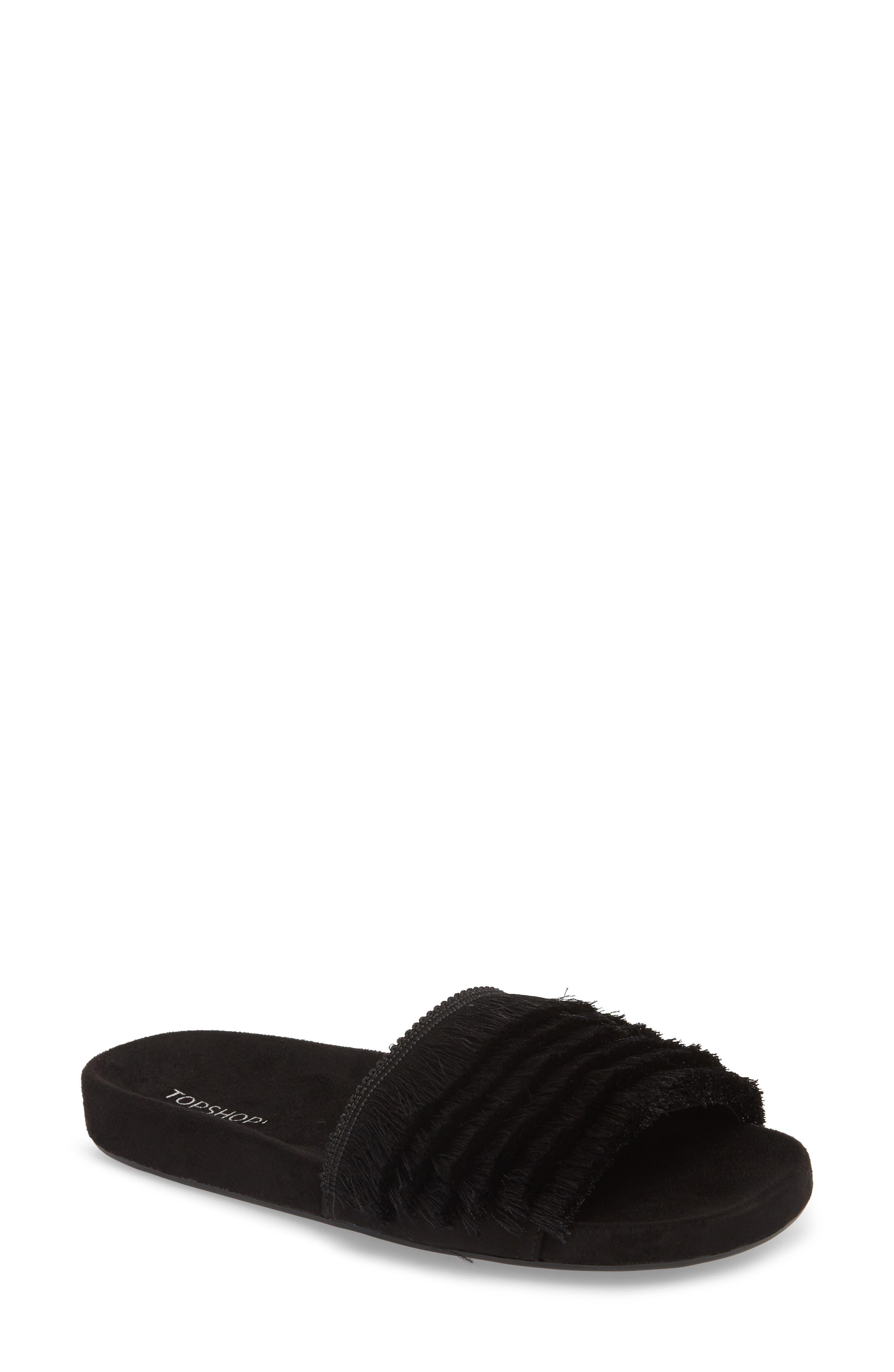 Hun Fringe Slide Sandal,                             Main thumbnail 1, color,                             Black