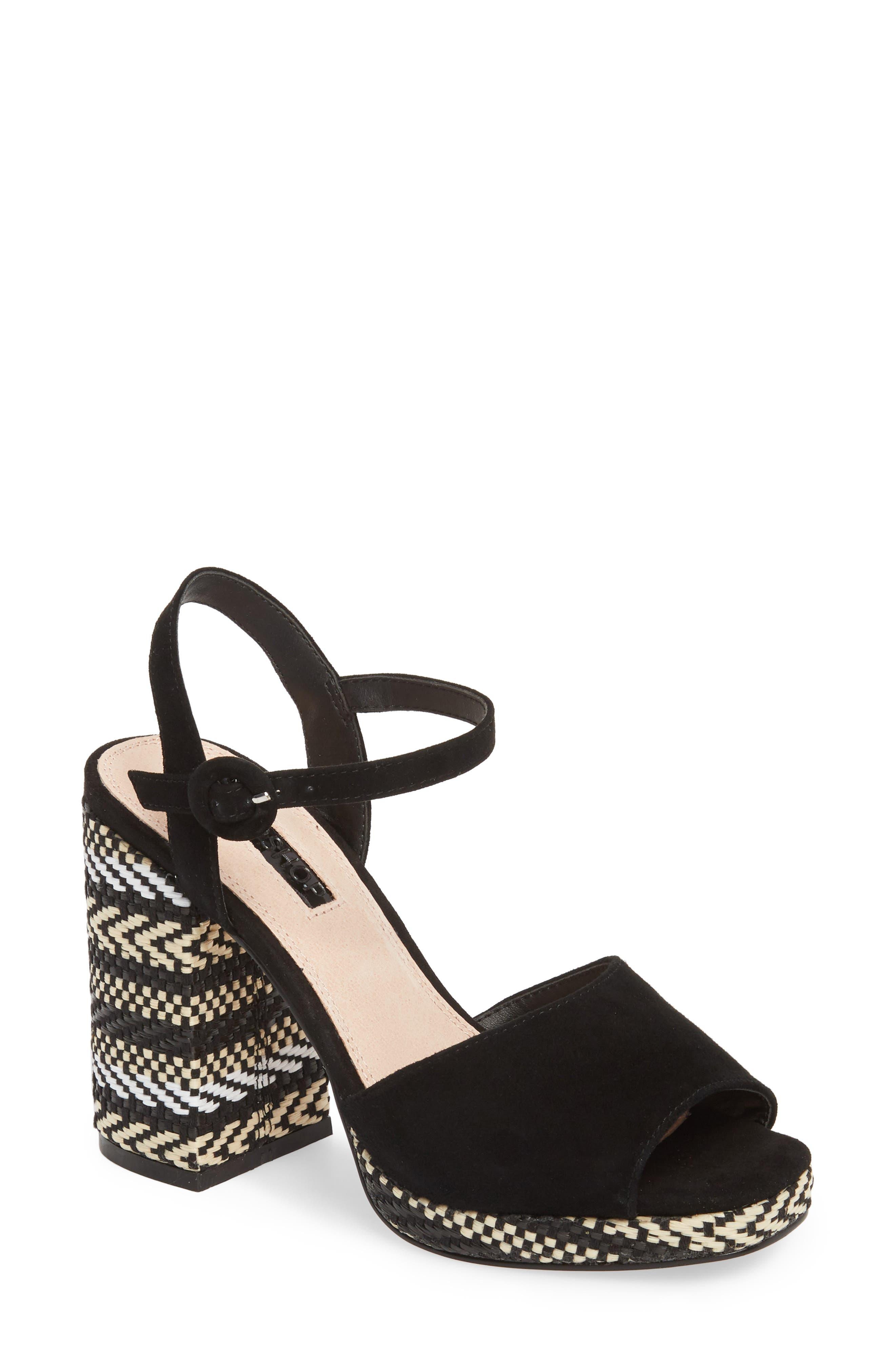 Laura Woven Block Heel Sandal,                         Main,                         color, Black Multi