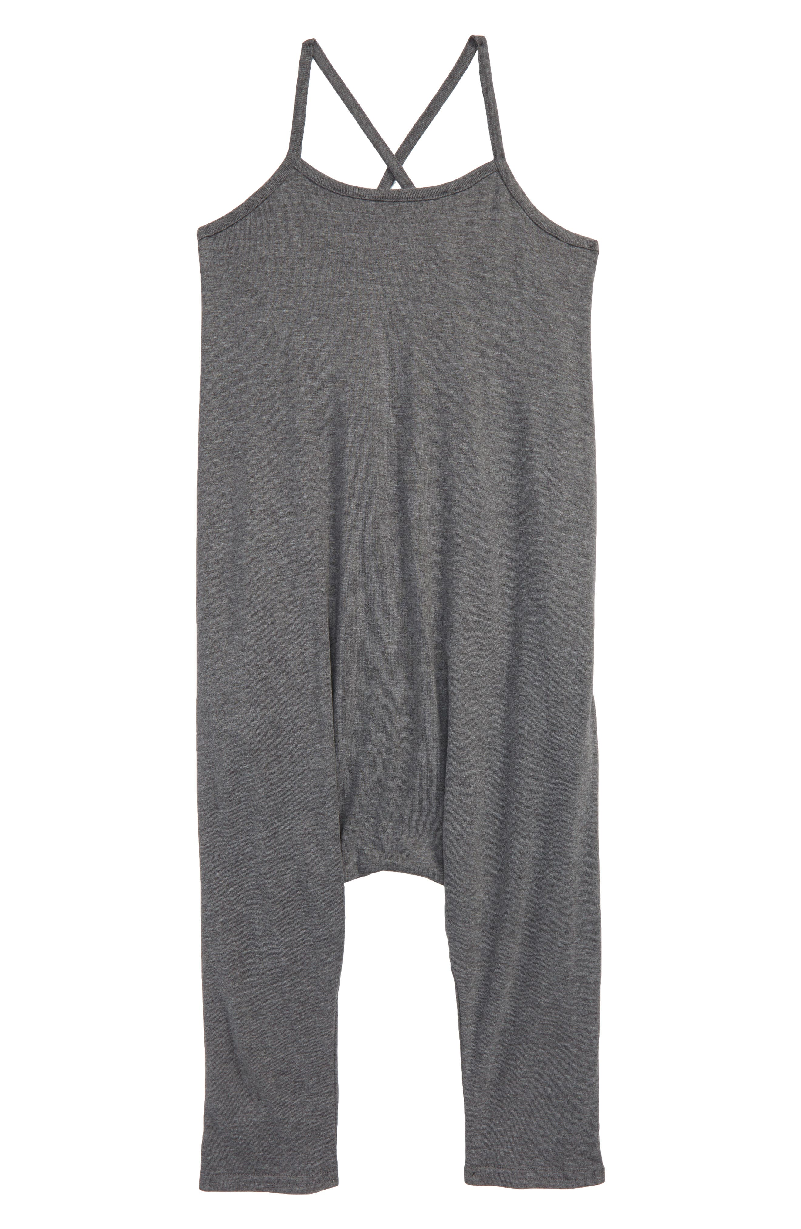 Knit Tank Romper,                         Main,                         color, Grey Charcoal Heather