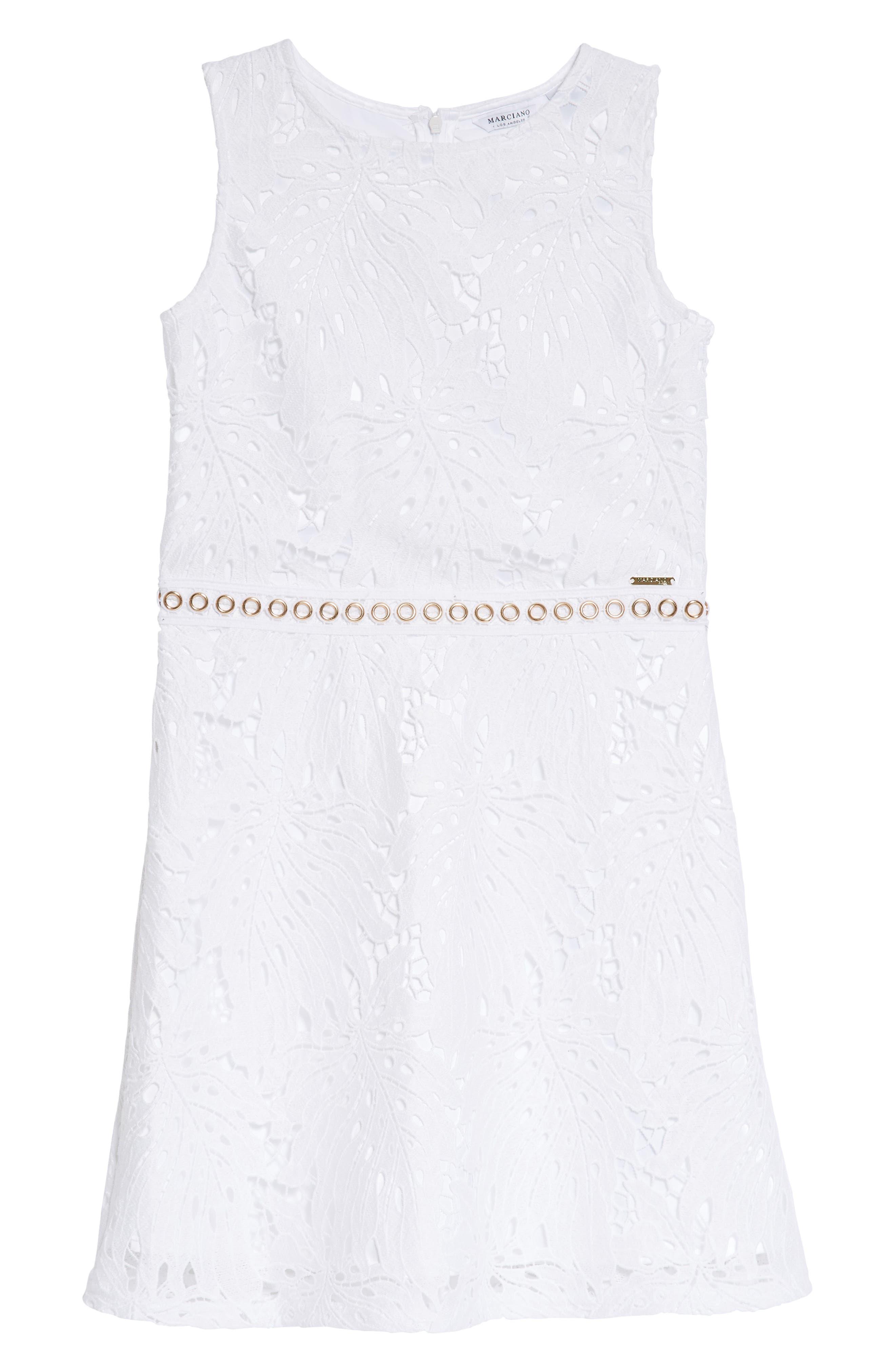 Lace Sleeveless Dress,                         Main,                         color, True White