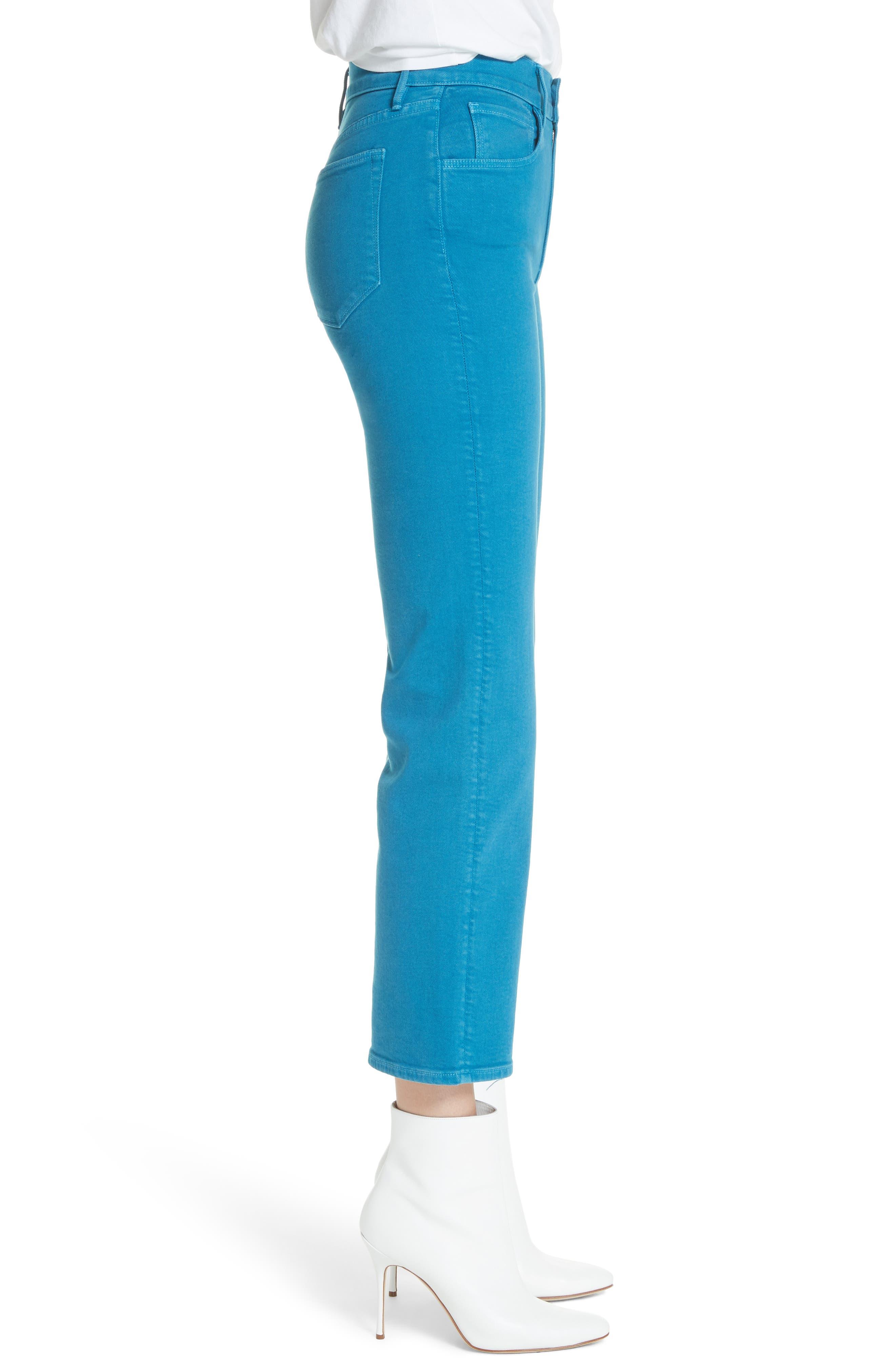 W4 Shelter Wide Leg Crop Jeans,                             Alternate thumbnail 3, color,                             Peacock Blue