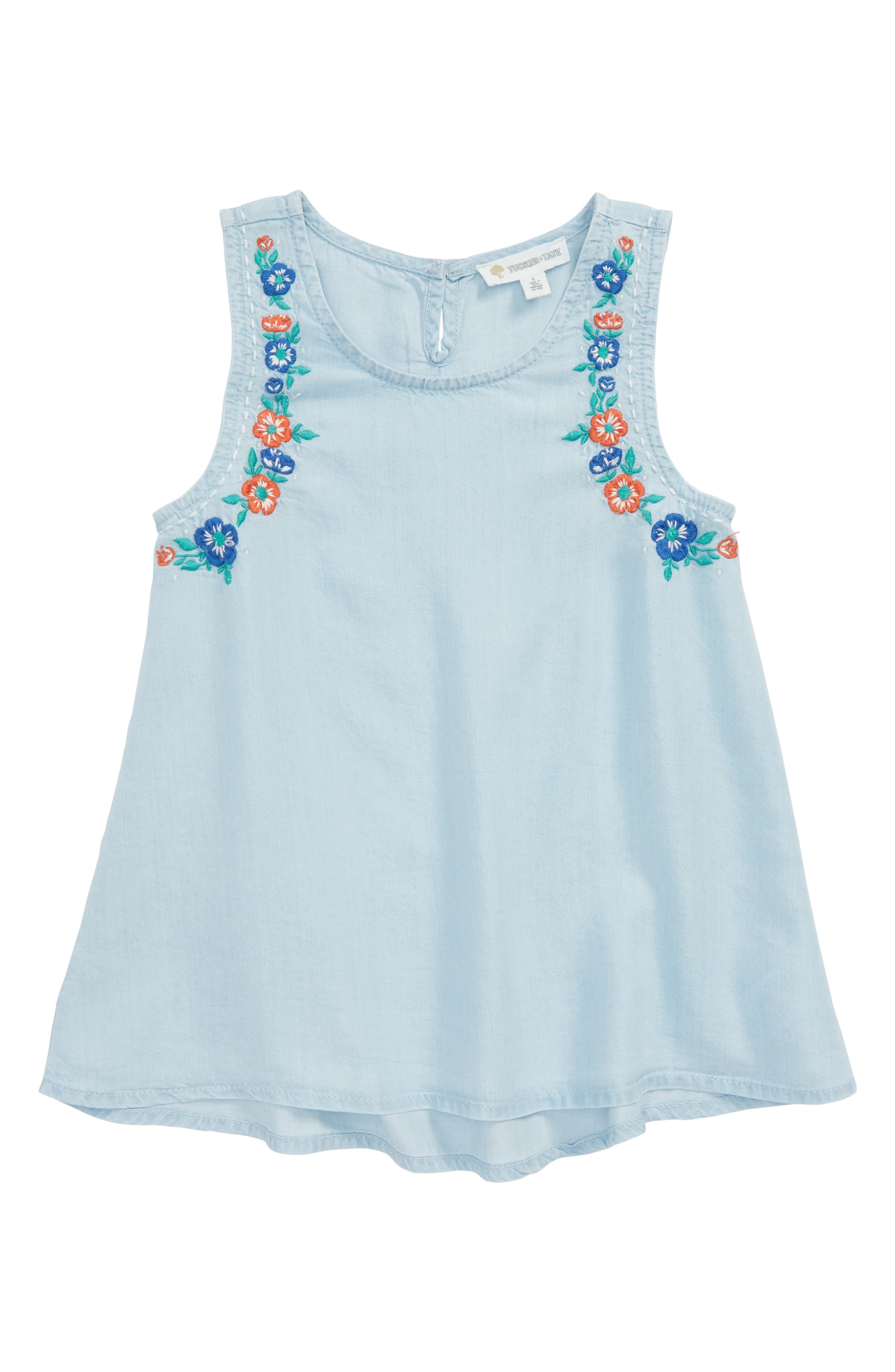 Embroidered Swing Tank,                         Main,                         color, Light Blue Wash